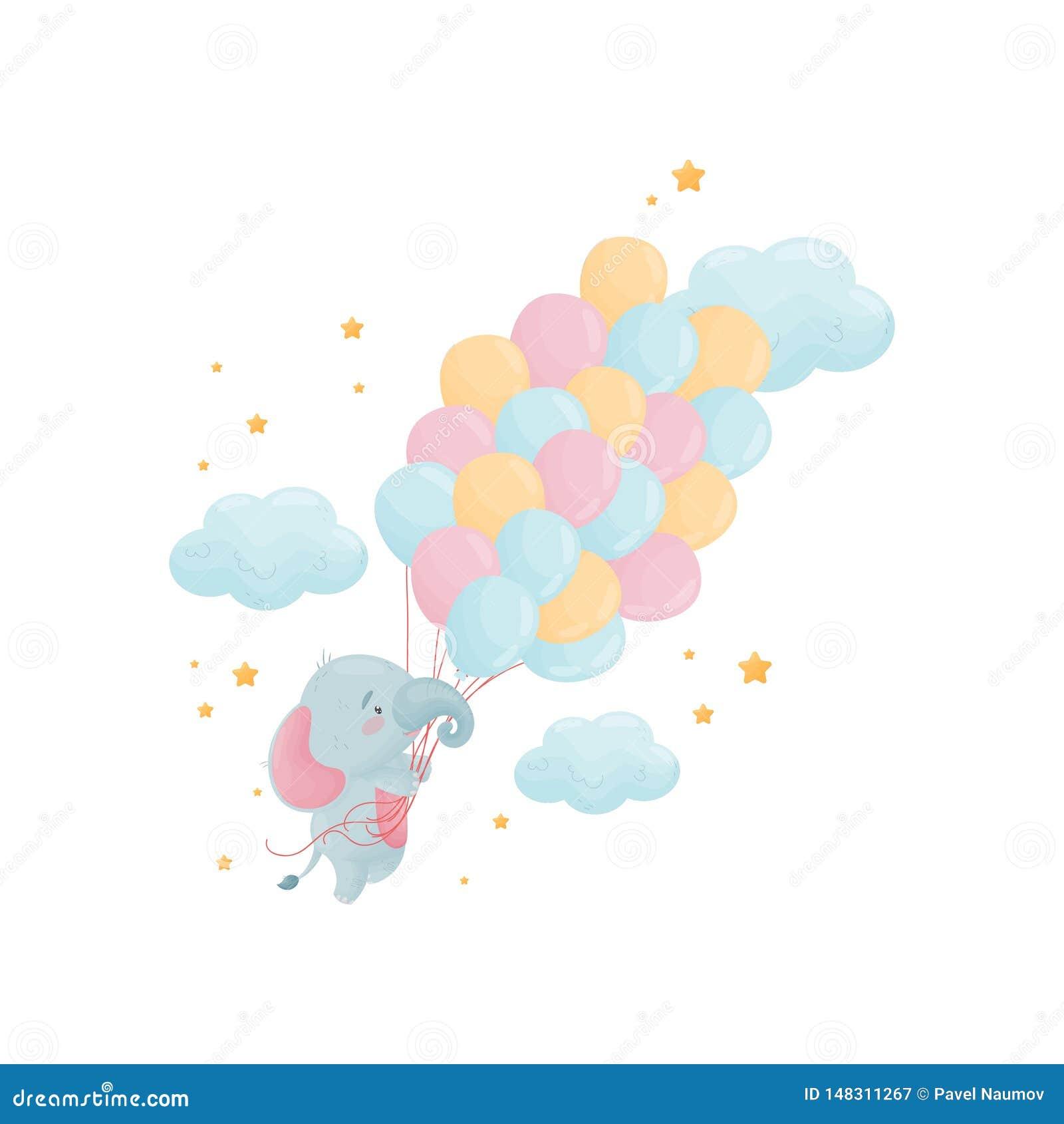 Śliczny mały słoń lata nad wielką wiązką balony t?a ilustracyjny rekinu wektoru biel