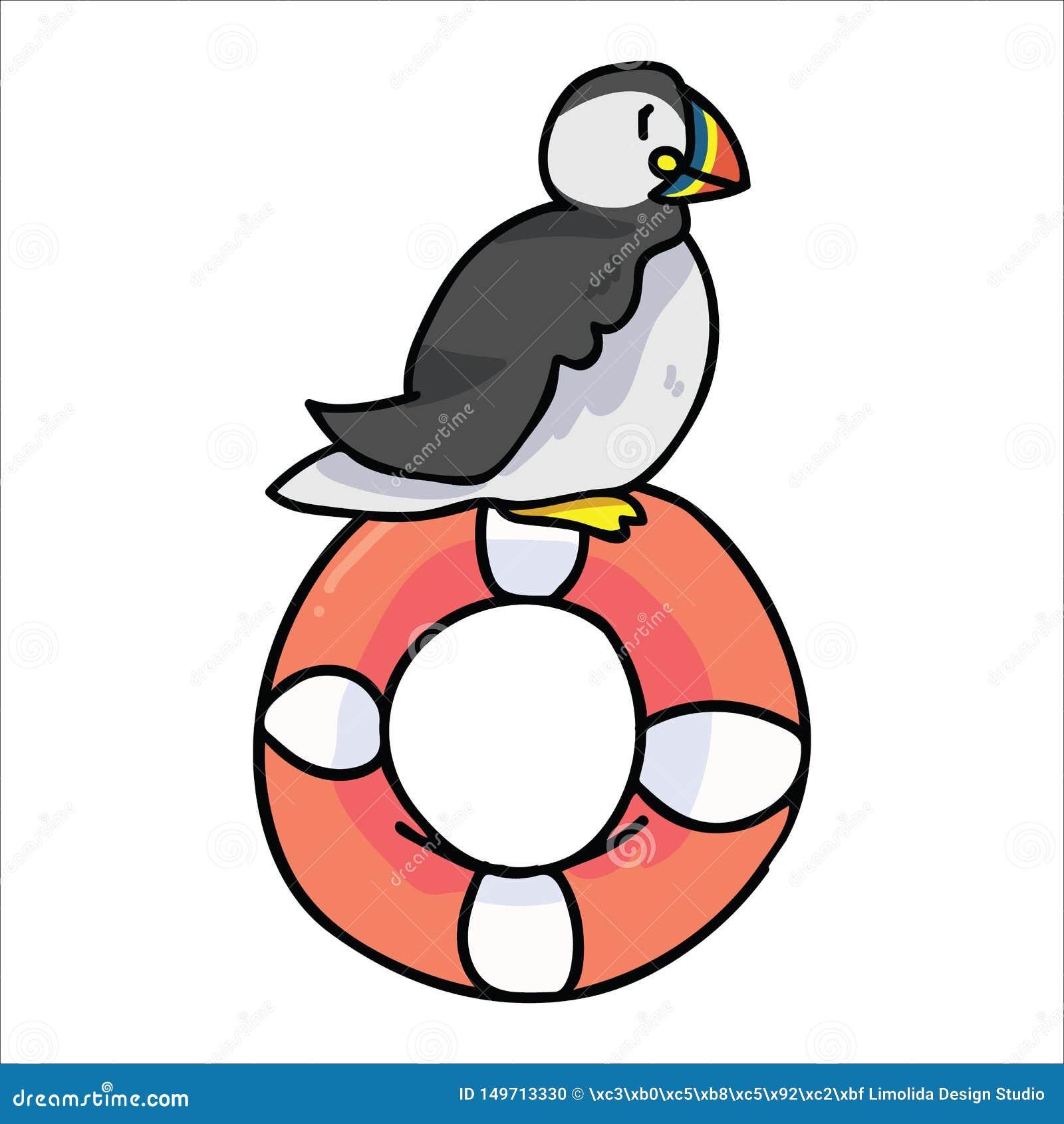 Śliczny maskonura obsiadanie na lifering kreskówka wektoru ilustracji Ręka rysujący nautycznego seabird odosobneni elementy Clipa