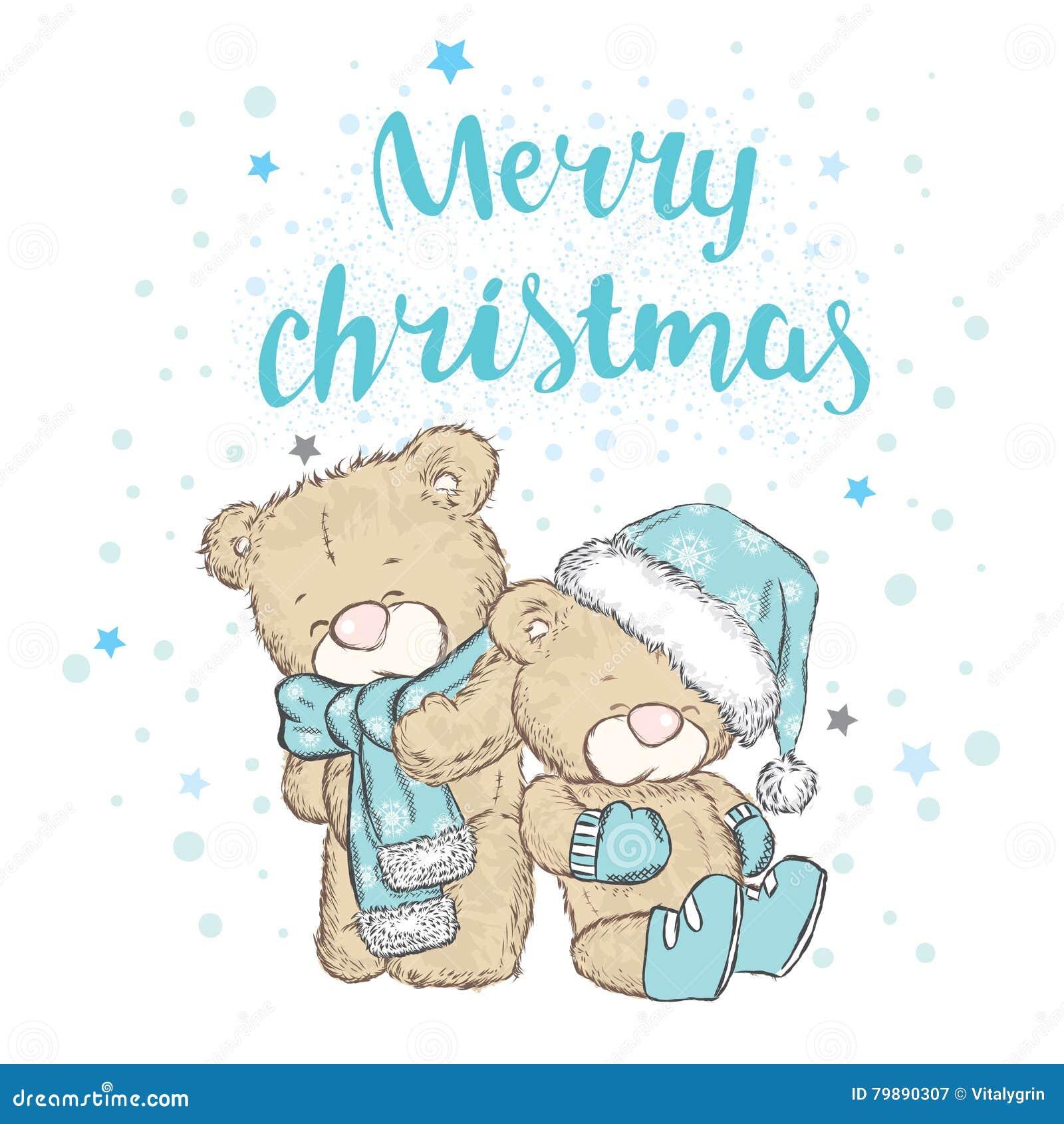 Śliczny niedźwiedź w nakrętce i szaliku chłopiec wakacji lay śniegu zima Bożenarodzeniowy i Nowy Yea
