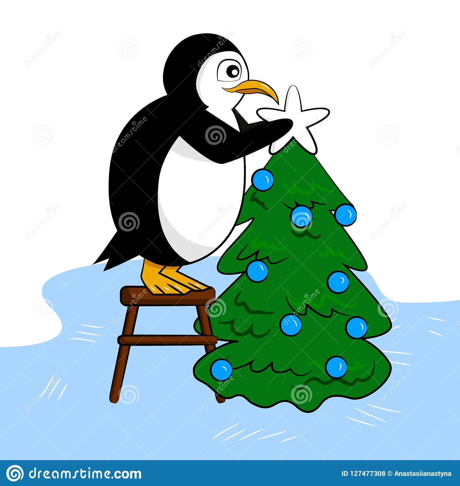 Śliczny pingwin dekoruje nowego roku drzewa