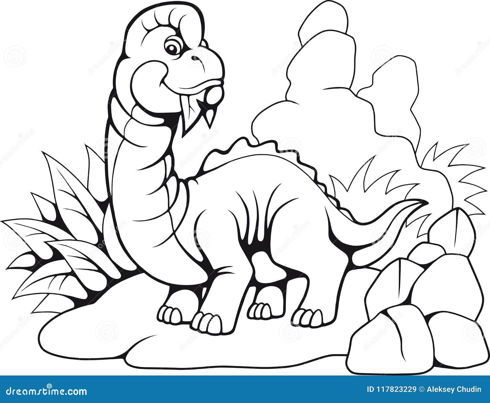 Śliczny prehistoryczny brachiosaurus, śmieszna ilustracyjna kolorystyki książka