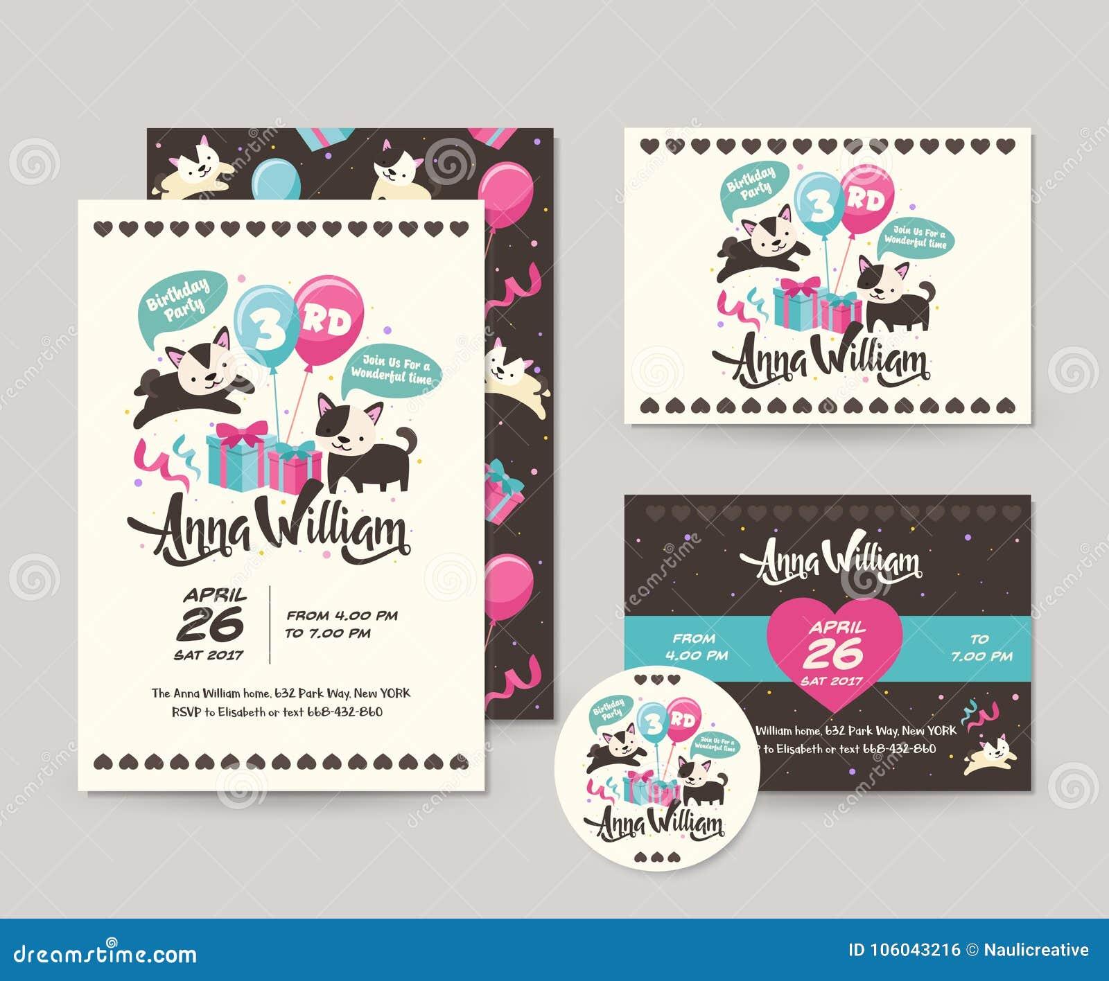 Śliczny Rzadki Czarnego kota tematu wszystkiego najlepszego z okazji urodzin zaproszenia karty set I ulotki ilustracja szablon