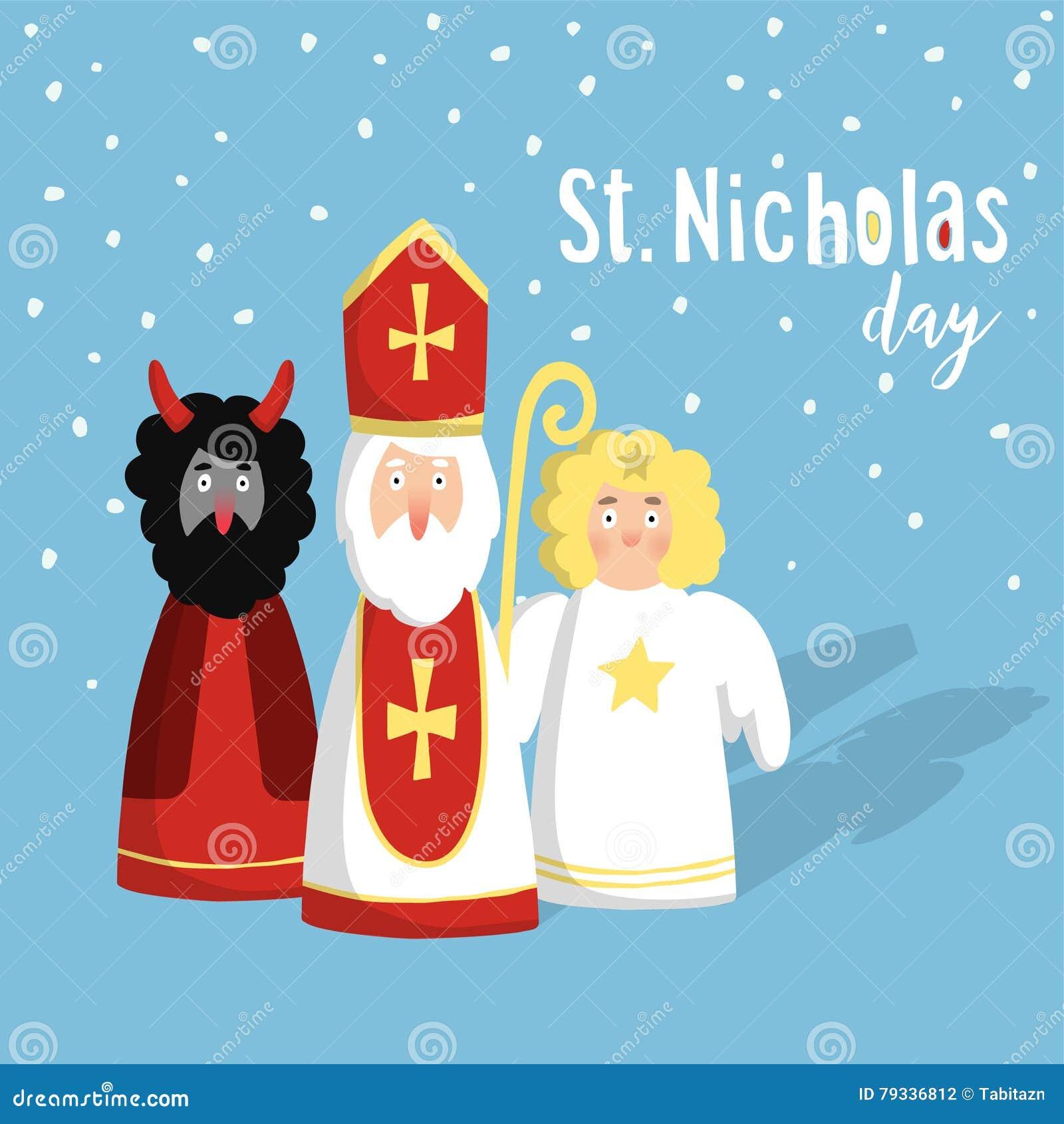 Śliczny St Nicholas z diabłem, anioł, boże narodzenia zaproszenia, karta Płaski projekt, ilustracja, zimy tło