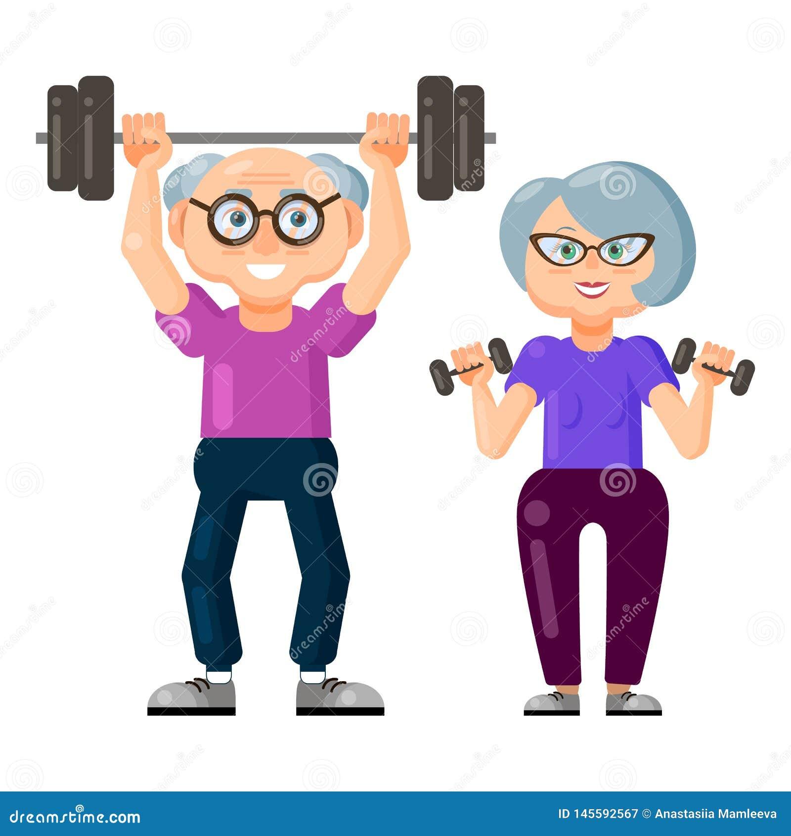 Śliczny stary człowiek i stara kobieta robi sprawności fizycznych ćwiczeniom z wpólnie dumbbells i barbell