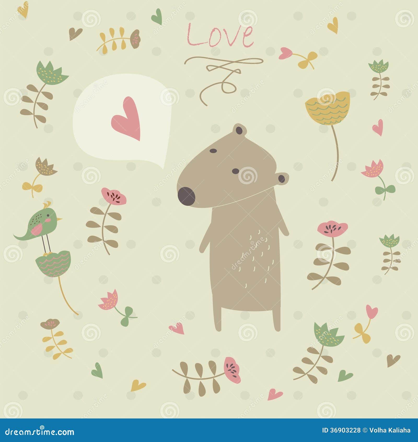 Śliczny tło z niedźwiedziem