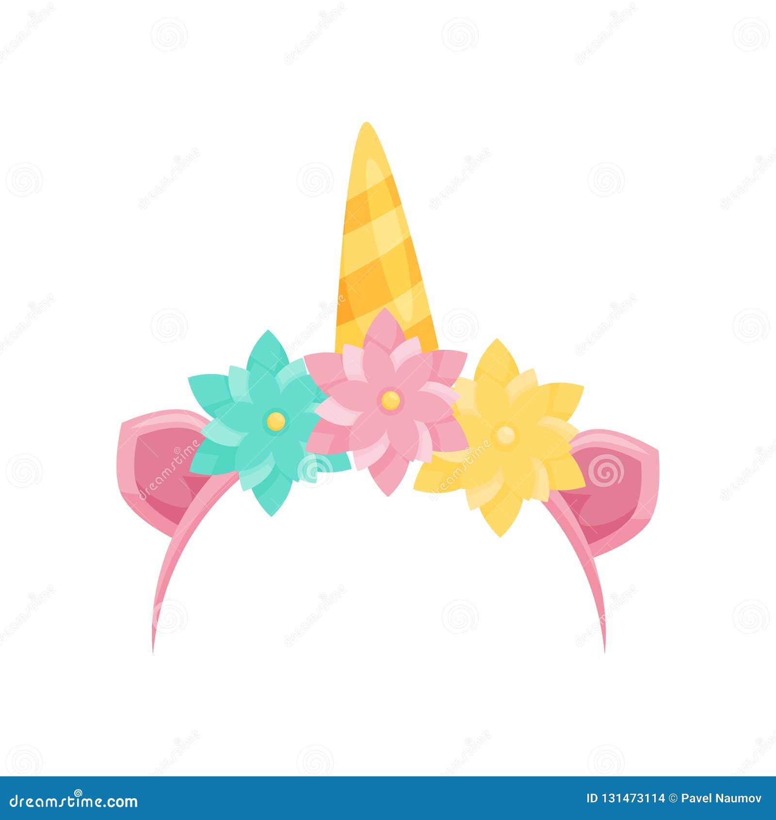 Śliczny włosiany obręcz z różowymi ucho, jednorożec rogiem i kolorowymi kwiatami, Jaskrawy kierowniczy akcesorium Płaska wektorow
