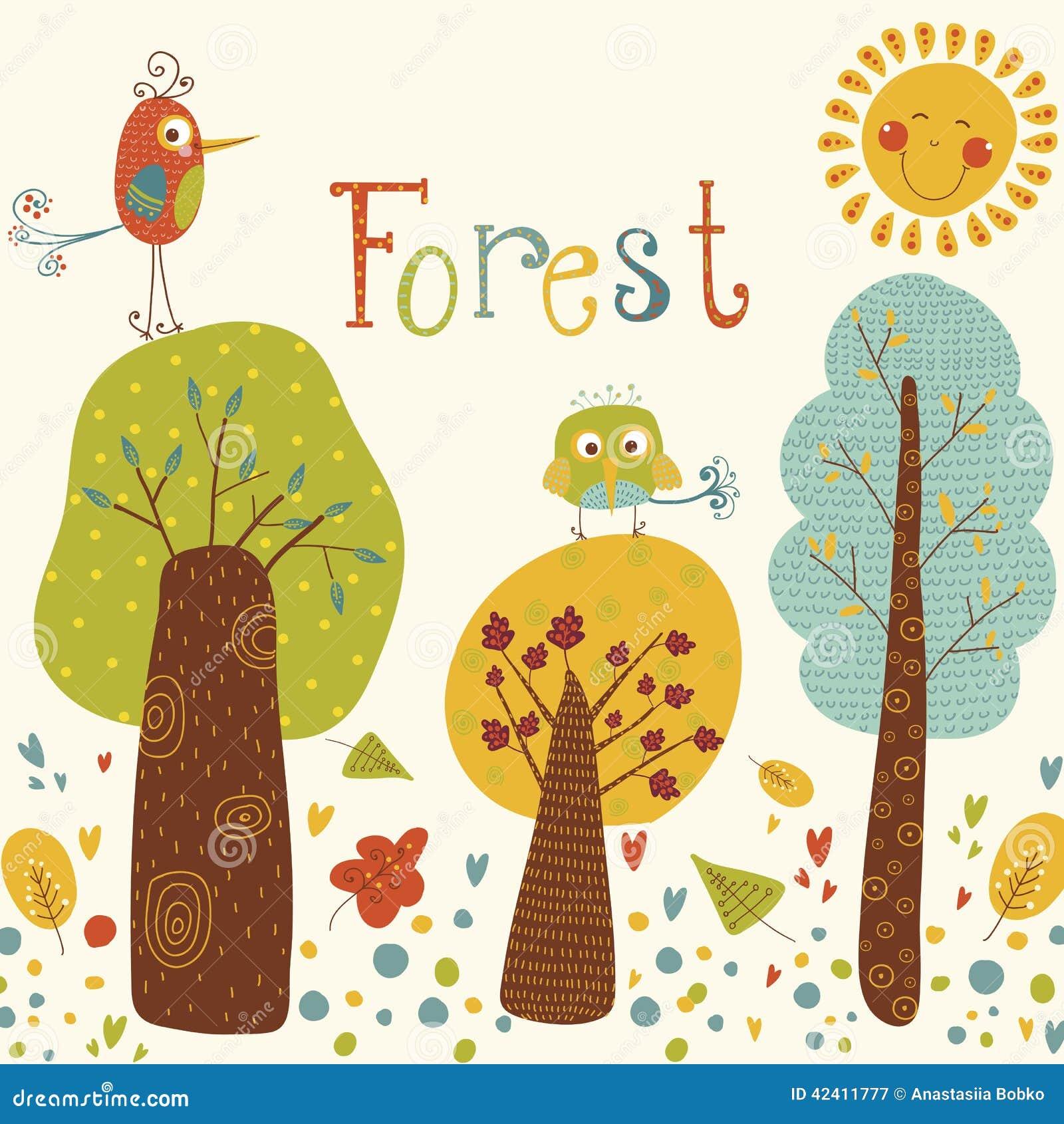 Śliczny wektorowy tło z kolorowymi drzewami i ptakami Kreskówka las z słońcem i ptakami Jaskrawy naturalny tło Plenerowy conc
