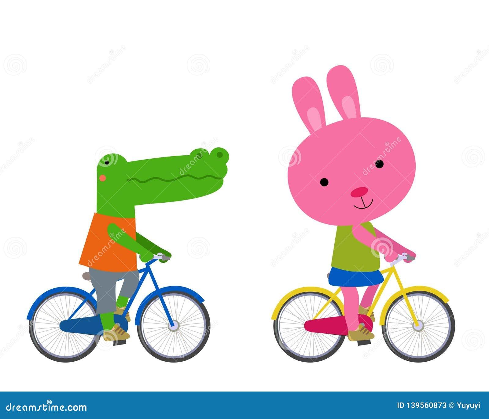 Śliczny zwierząt jechać na rowerze