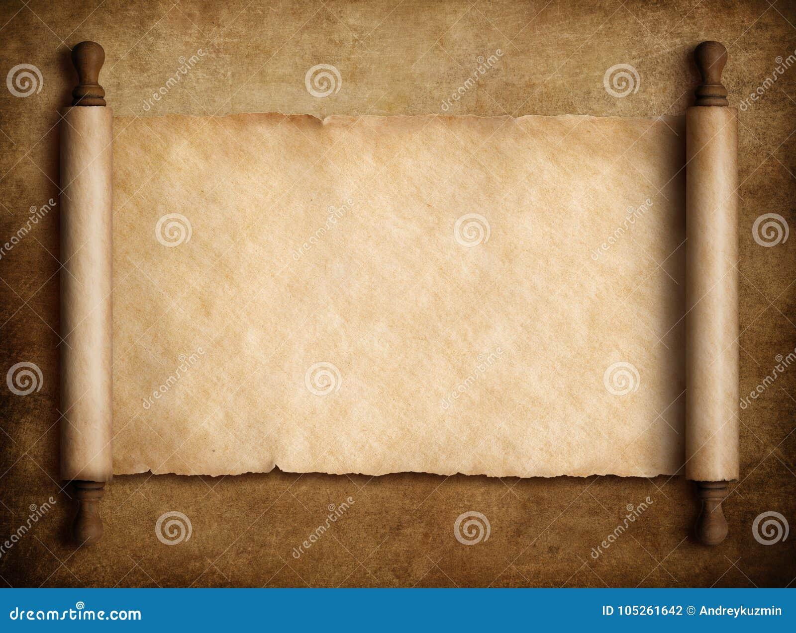 Ślimacznica pergamin nad starą papierową tła 3d ilustracją
