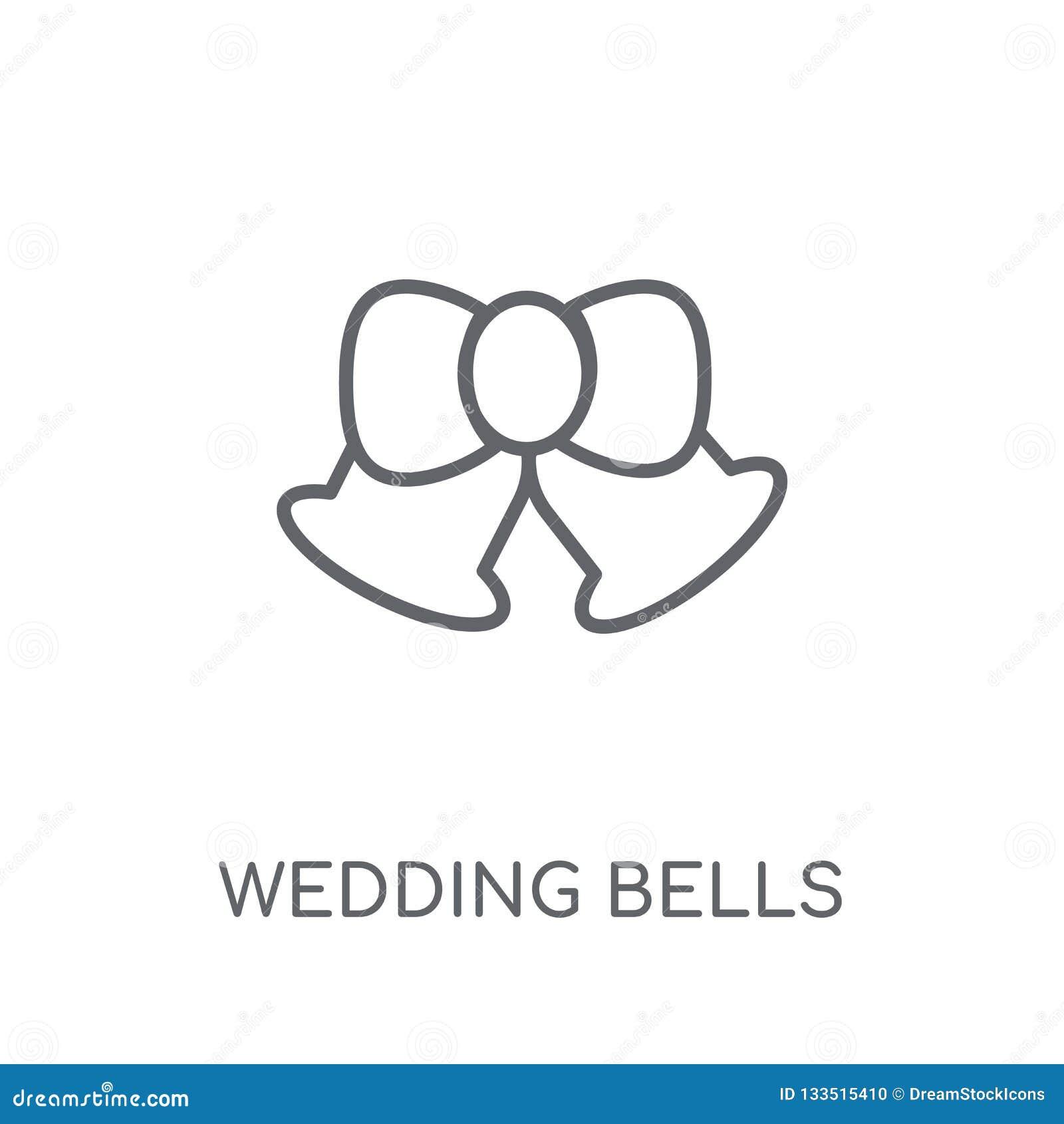 Ślubna Dzwon liniowa ikona Nowożytny konturów Ślubnych Dzwonów logo przeciw