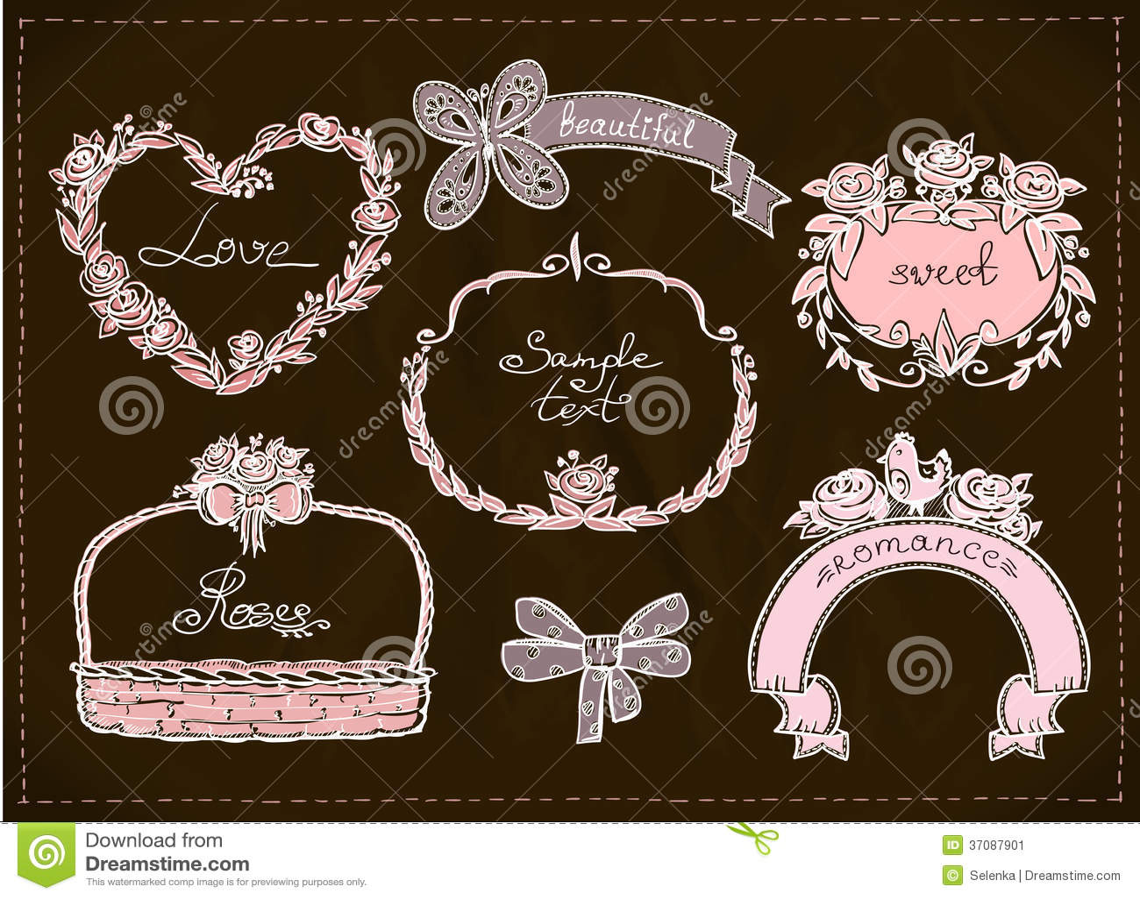 Download Ślubna Ręka Rysujący Grafika Set. Ilustracja Wektor - Ilustracja złożonej z elementy, doodle: 37087901
