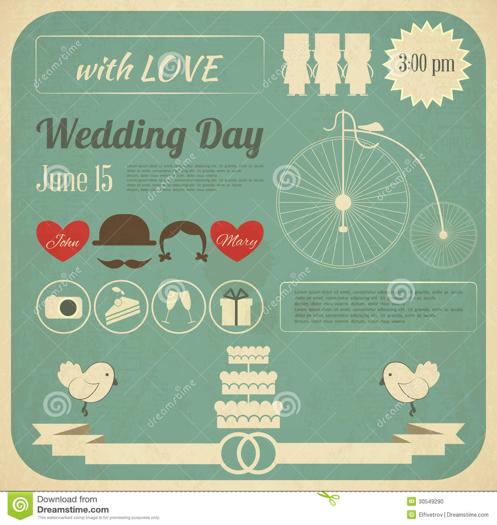 Ślubna zaproszenia Infographics karta