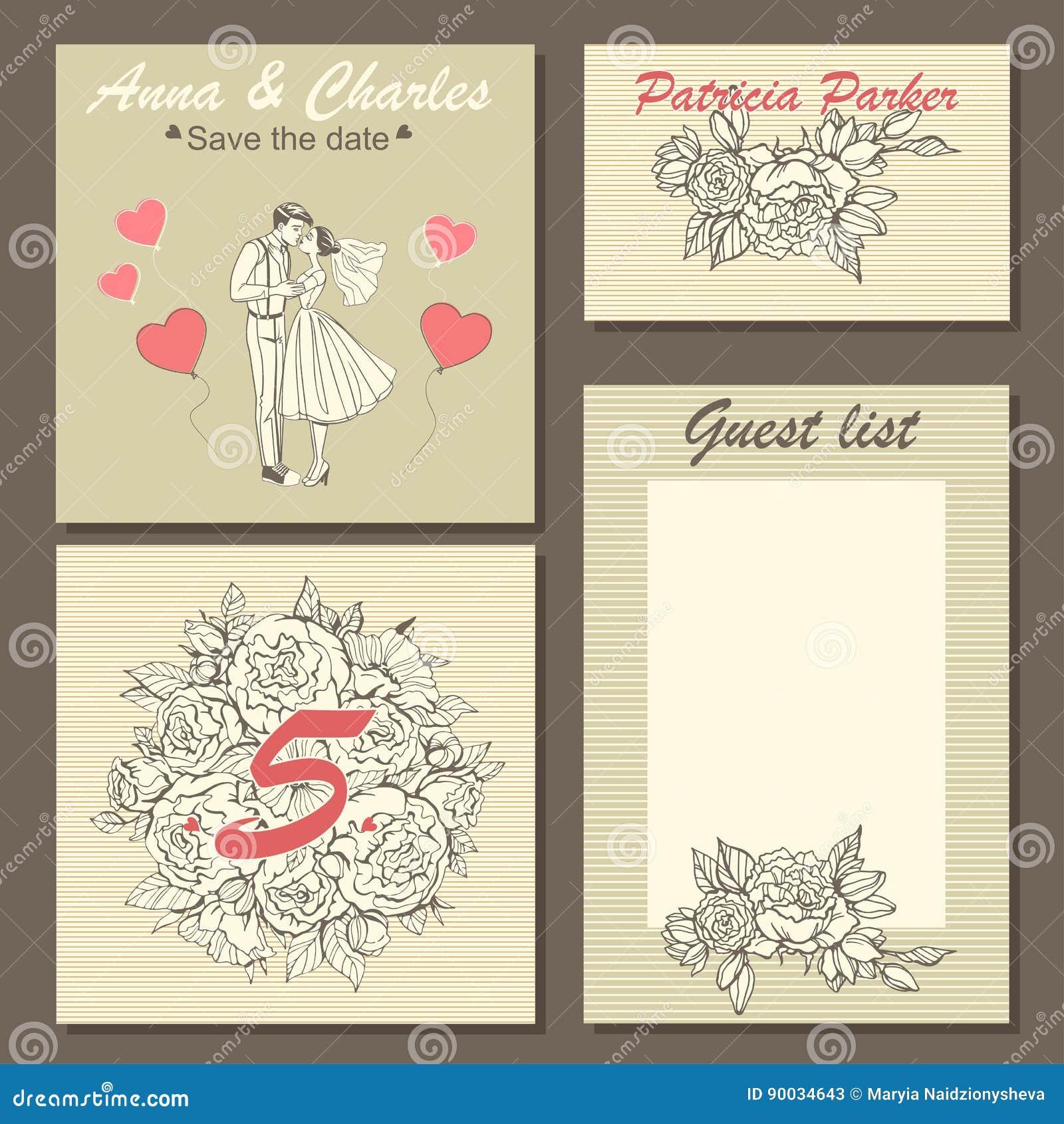 f65735c29e Set ślubne zaproszenie karty z pociągany ręcznie kwiecistym wzorem i  śliczna ilustracja para w kreskówce projektujemy