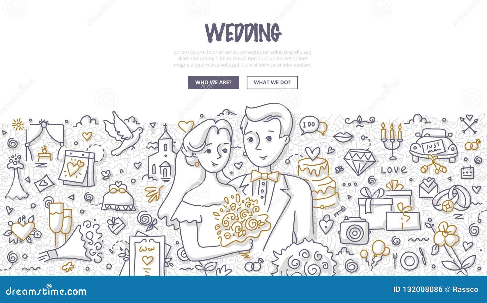 Ślubny Doodle pojęcie