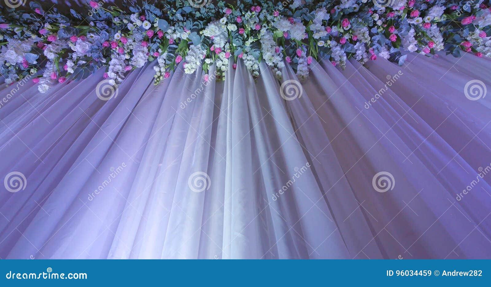 Ślubny tło z kwiat dekoracją