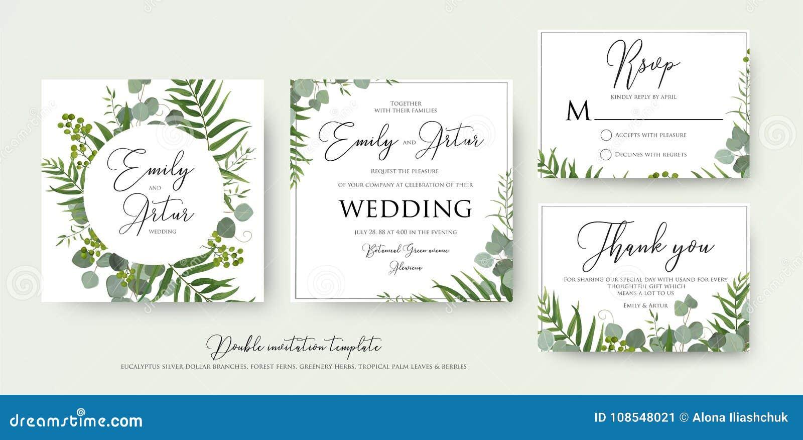 Ślubny zaproszenie, kwiecisty zaprasza, dziękuje ciebie, rsvp nowożytny karciany d
