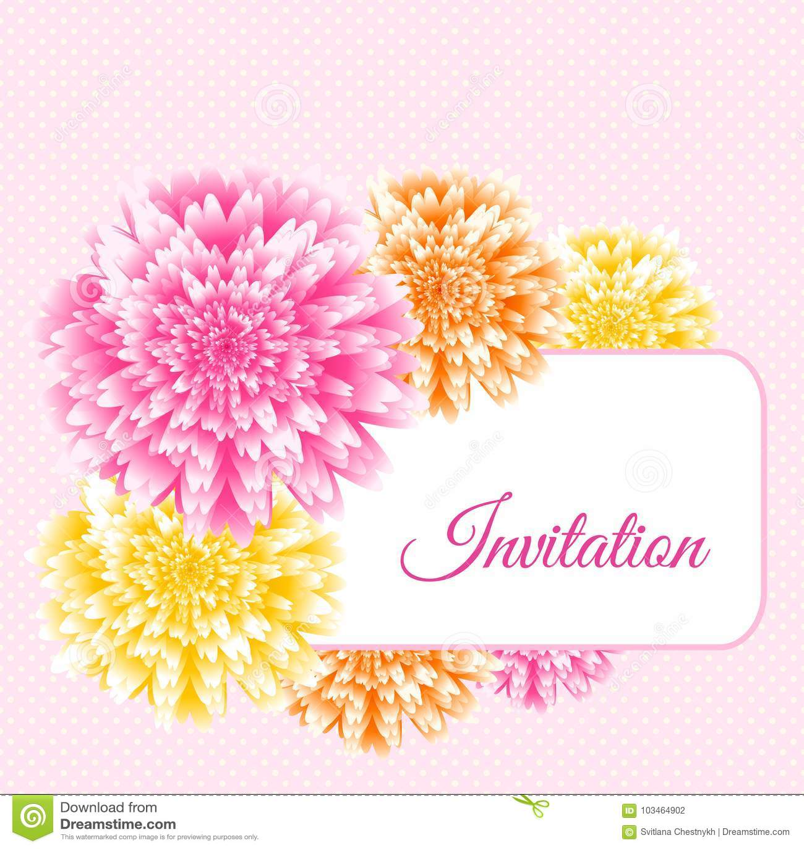 ślubny Zaproszenie Projekt Różowej Chryzantemy Kwiecisty Tło