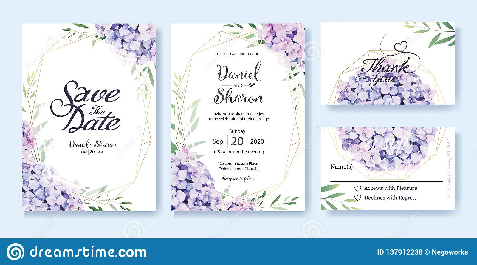 Ślubny zaproszenie, save datę, dziękuje ciebie, rsvp karcianego projekta szablon wektor hortensja kwiaty, oliwka liście bambusowa