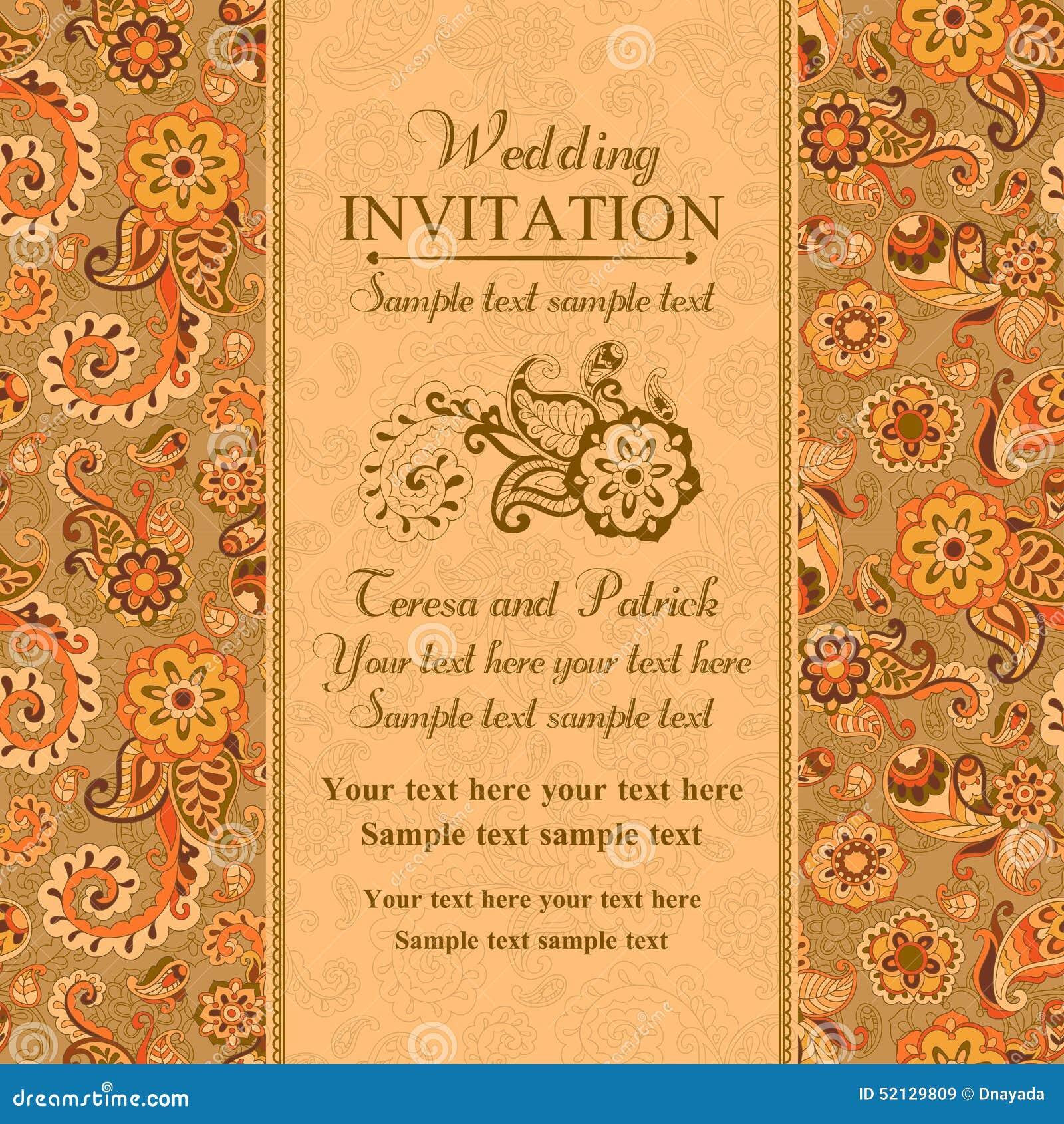 Ślubny zaproszenie w wschodnim tureckim stylu, pomarańcze