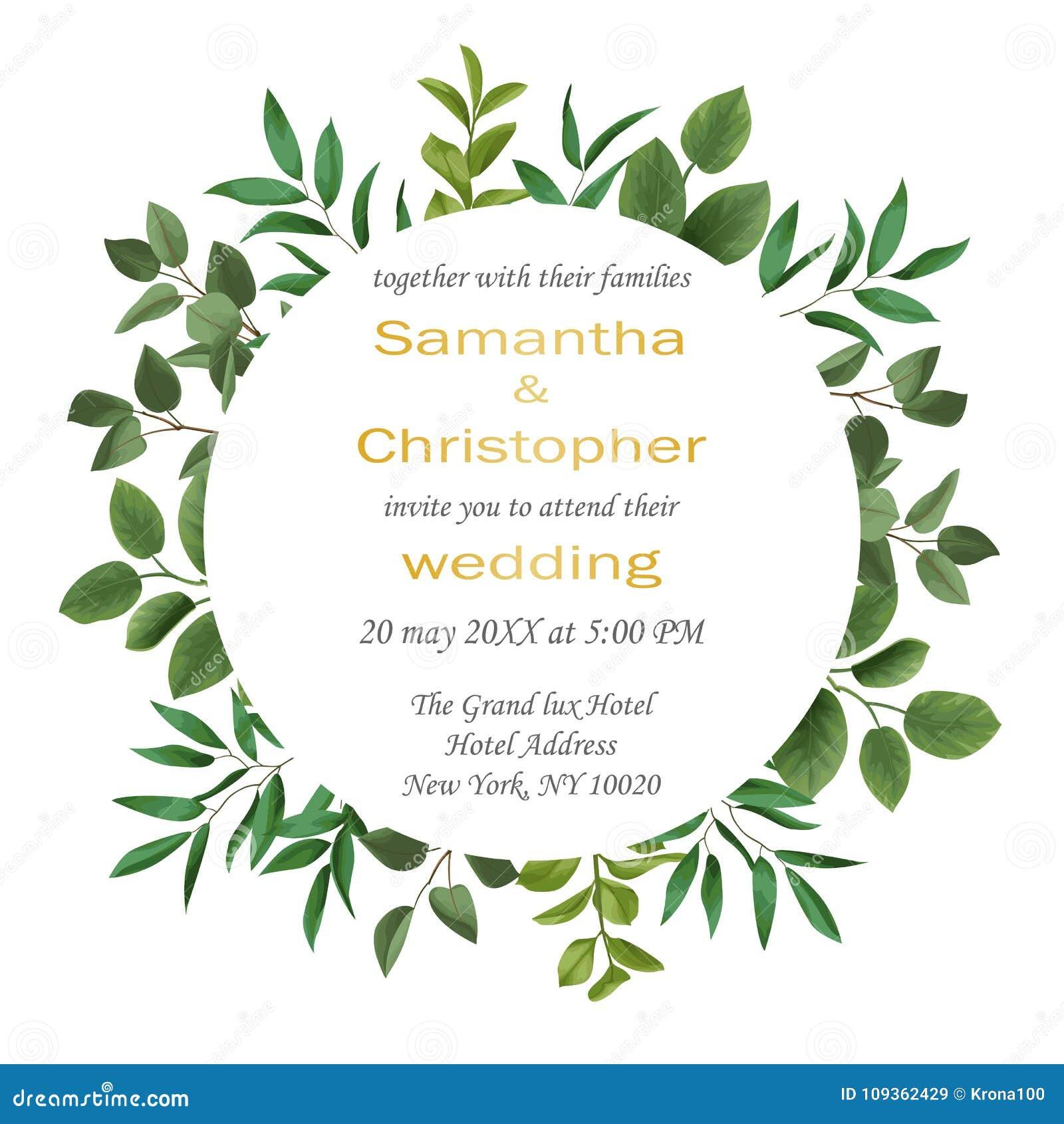 ślubny Zaproszenie Z Greenery Ilustracja Wektor Ilustracja