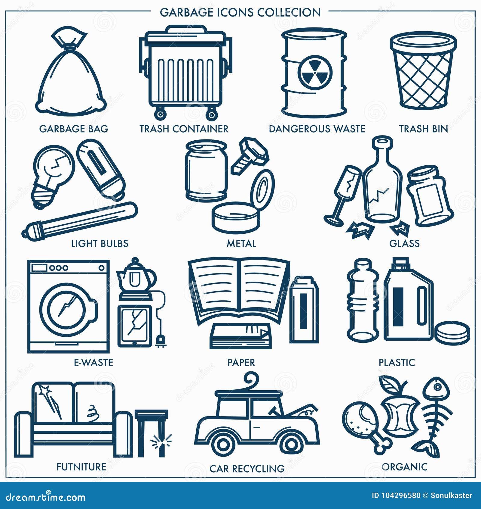Śmieci lub marnotrawi grat kreskowe ikony ustawiać