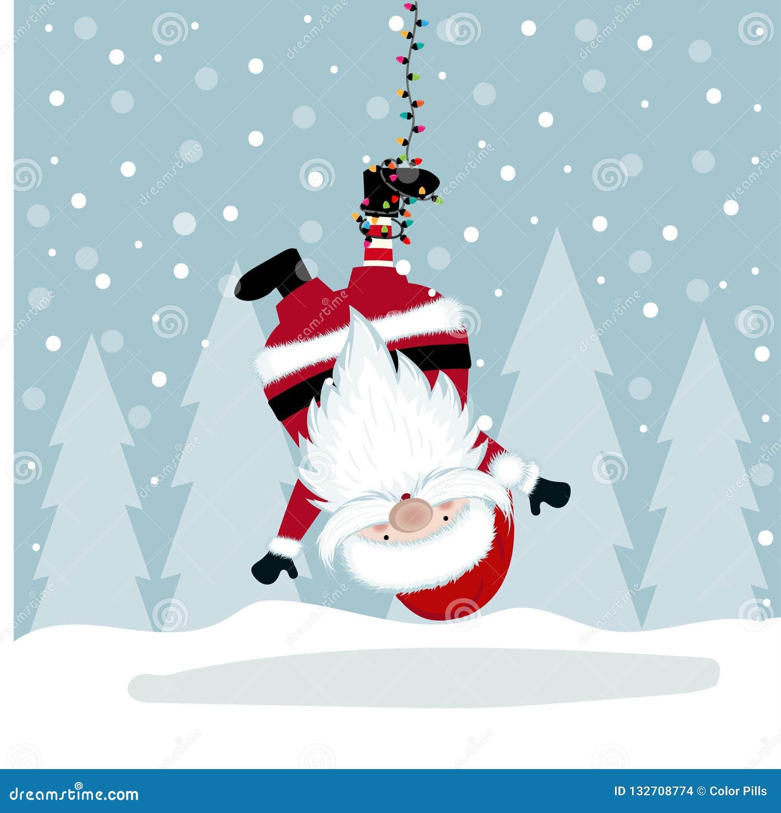 Śmieszna Bożenarodzeniowa ilustracja z wiesza Santa