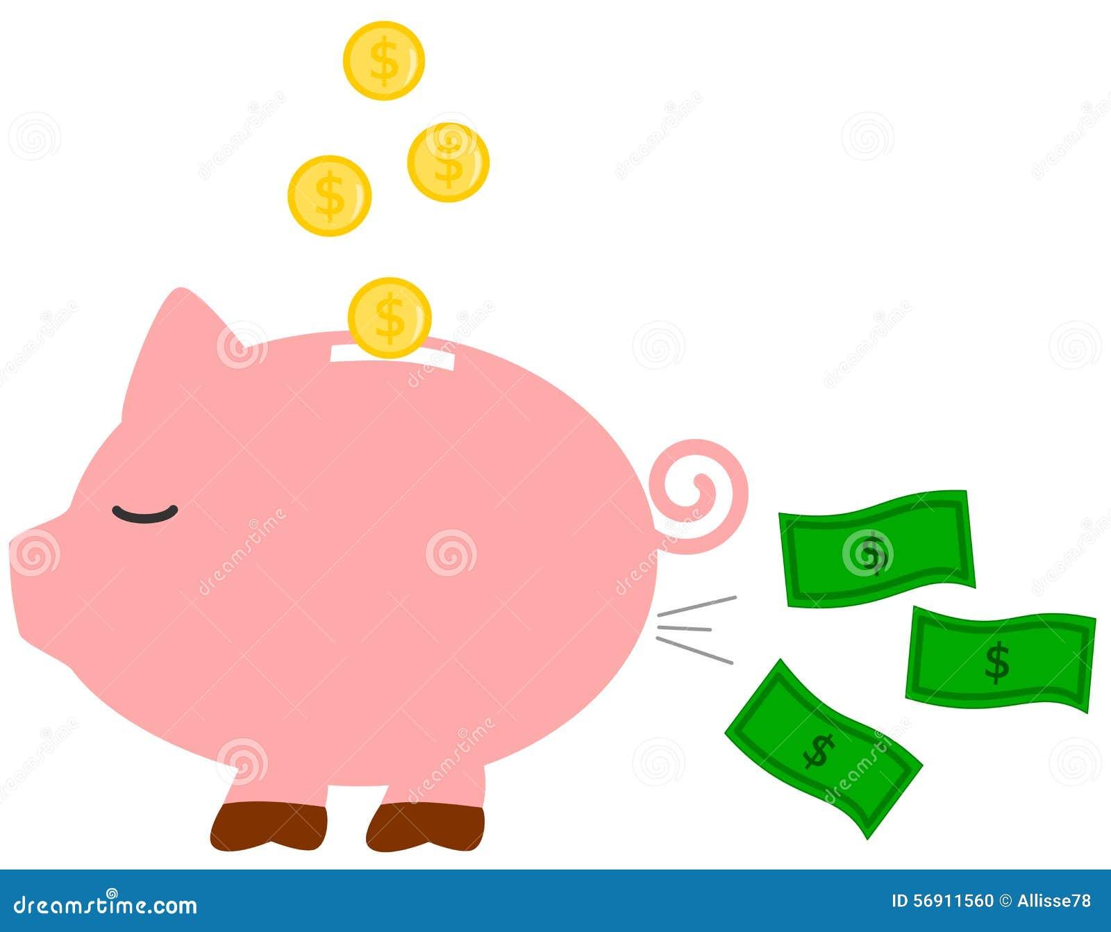 Śmieszna humor kreskówki prosiątka pieniądze banka pojęcia ilustracja