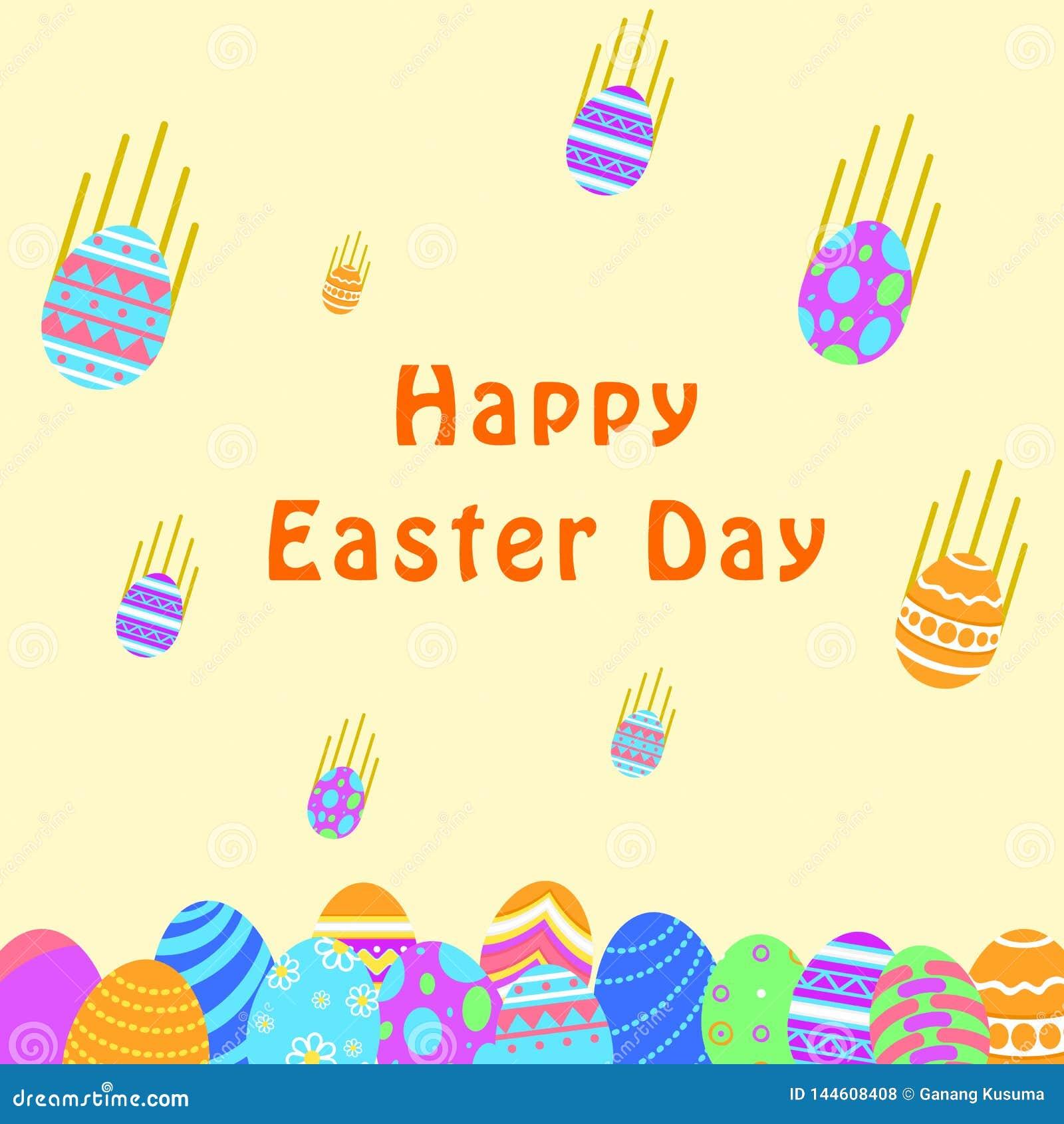 Śmieszna i Kolorowa Szczęśliwa Wielkanocna kartka z pozdrowieniami z ilustracją może używać dla Easter dnia sztandaru