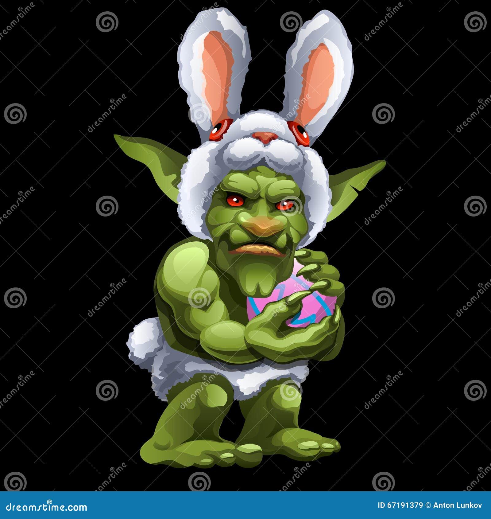 Śmieszna zielona błyszczka w królika kostiumu z piłką