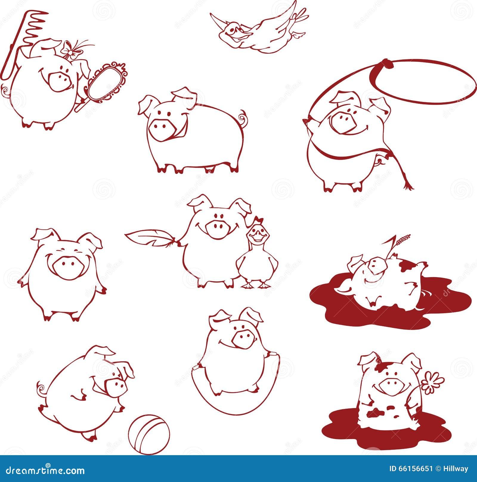 Śmieszne kreskówek świnie ma zabawę, bawić się wokoło i błaź się,