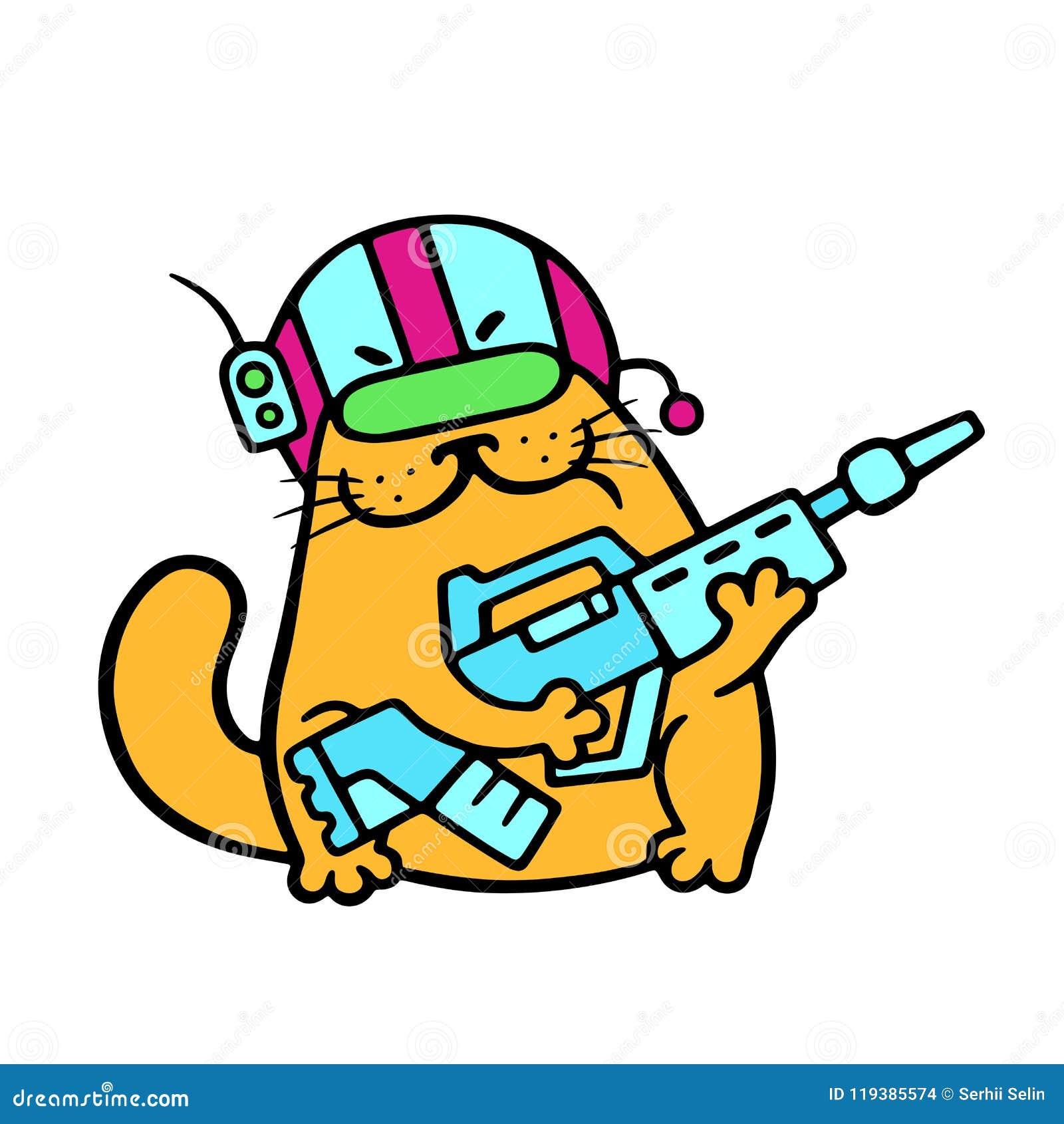 Śmiesznego kota fantastyczny żołnierz z impulsowym karabinem również zwrócić corel ilustracji wektora