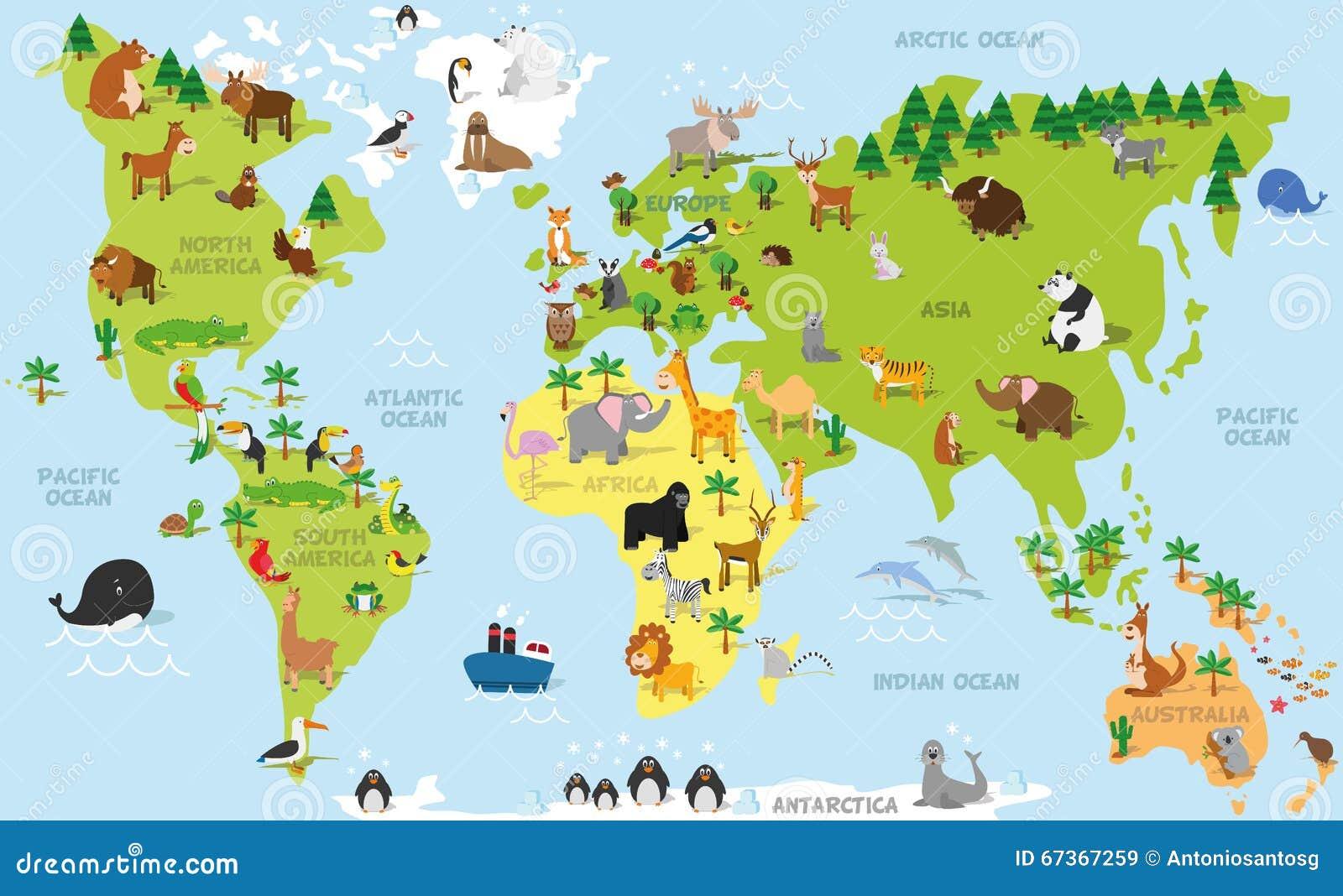 Śmiesznej kreskówki światowa mapa z tradycyjnymi zwierzętami wszystkie oceany i kontynenty Wektorowa ilustracja dla preschool edu