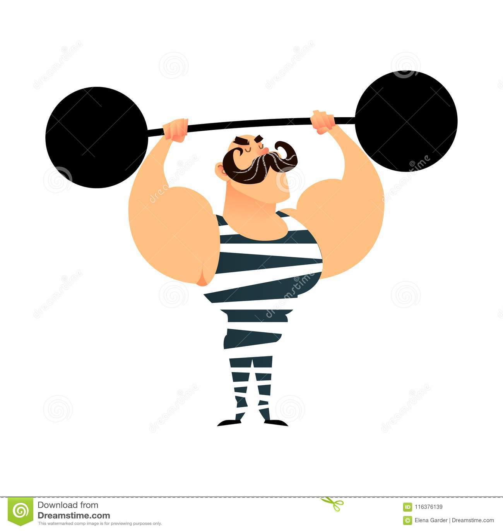 Śmiesznej kreskówki cyrkowy silny mężczyzna Silna mięśniowa atleta podnosi barbell Retro sportowiec z wąsy mieszkanie