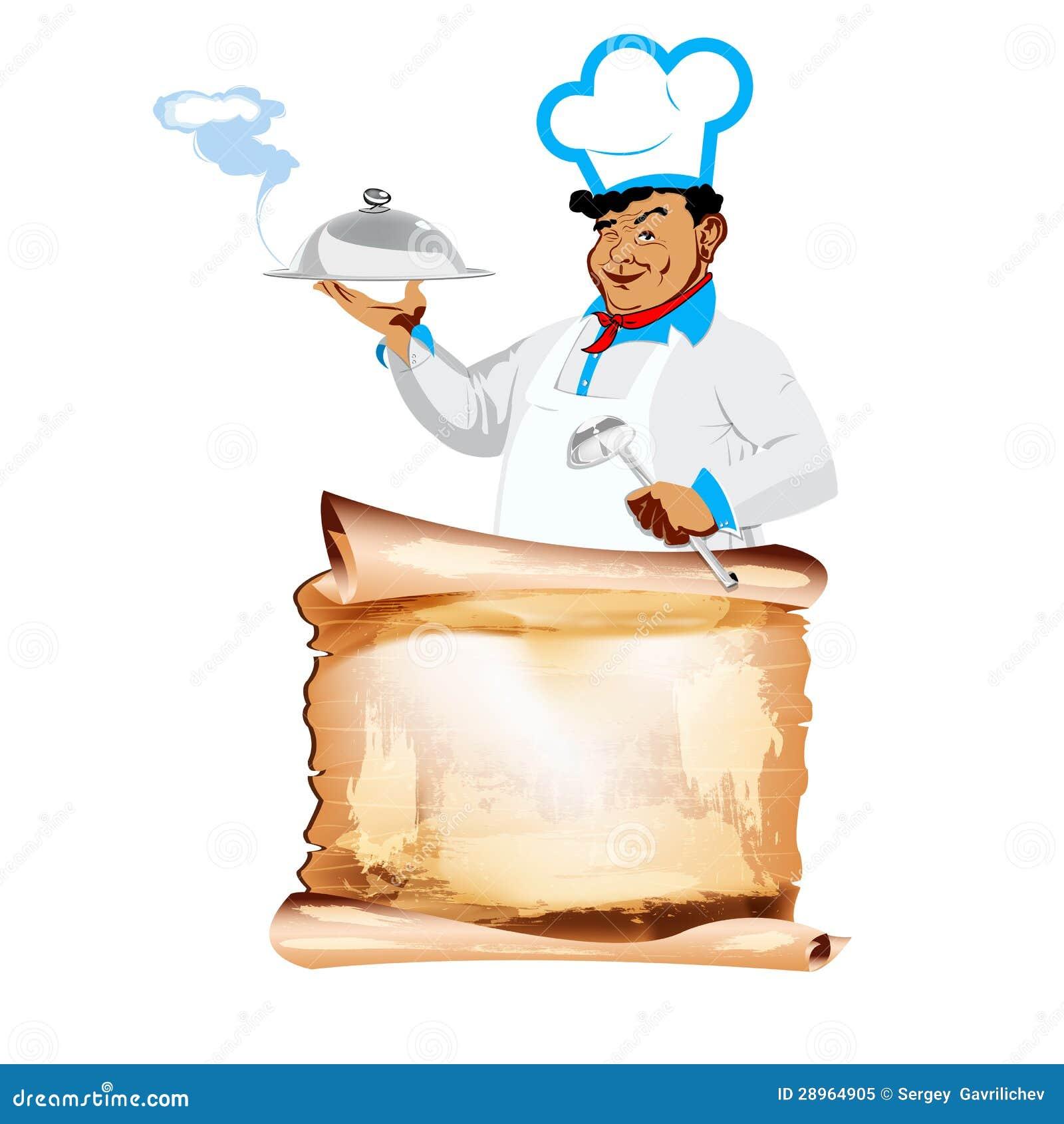 Śmieszni szczęśliwi szefa kuchni i menu bistra