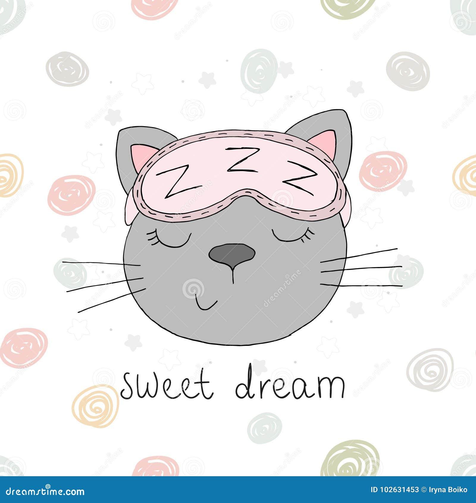 Śmieszny śliczny kot w kreskówka stylu Wektorowy druk