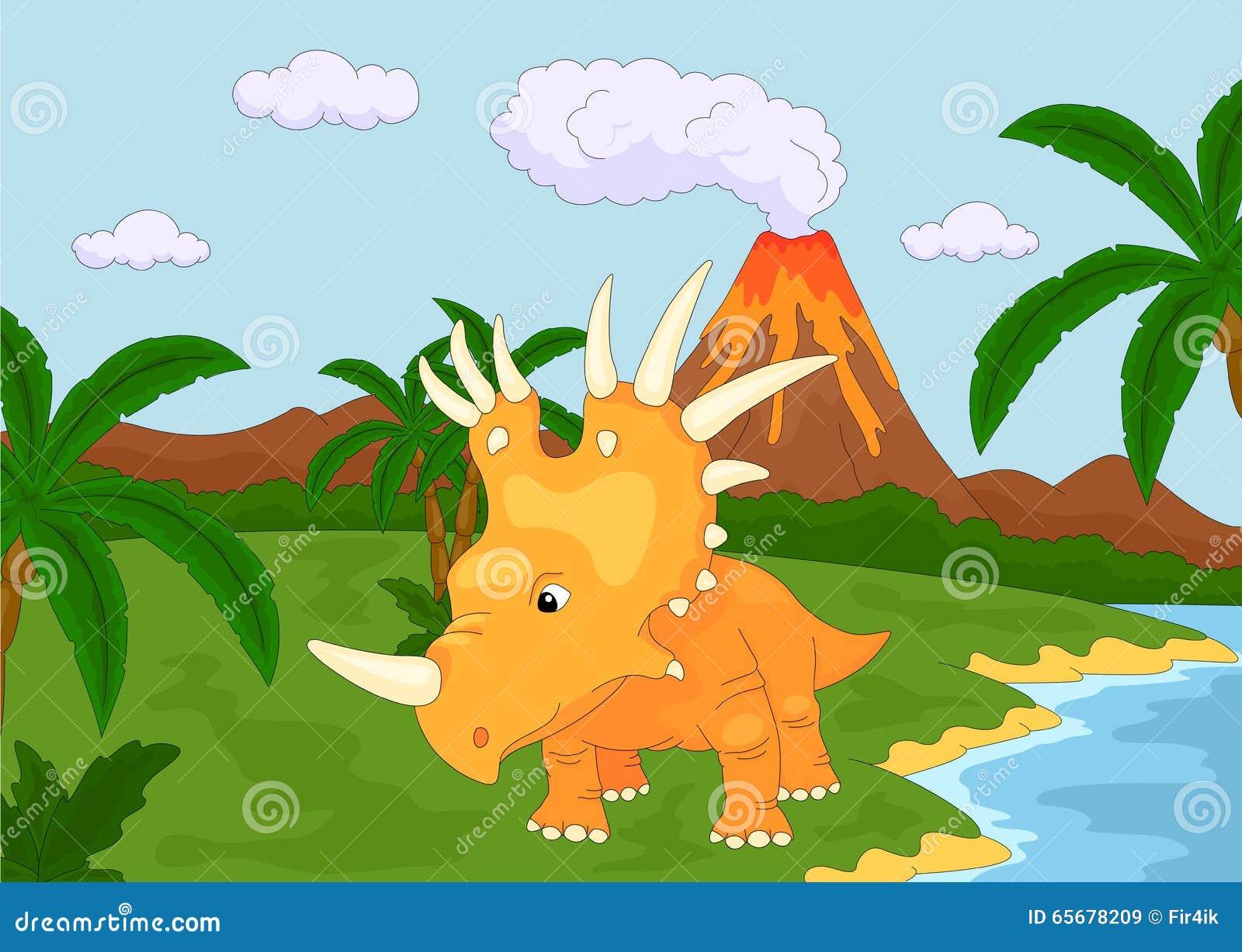 Śmieszny śliczny styracosaurus na tle prehistoryczny natu