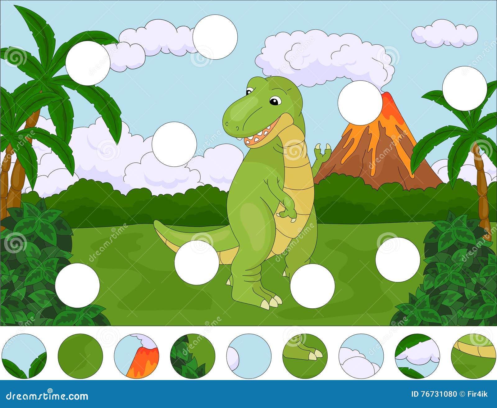 Śmieszny śliczny tyrannosaurus na tle prehistoryczny natu