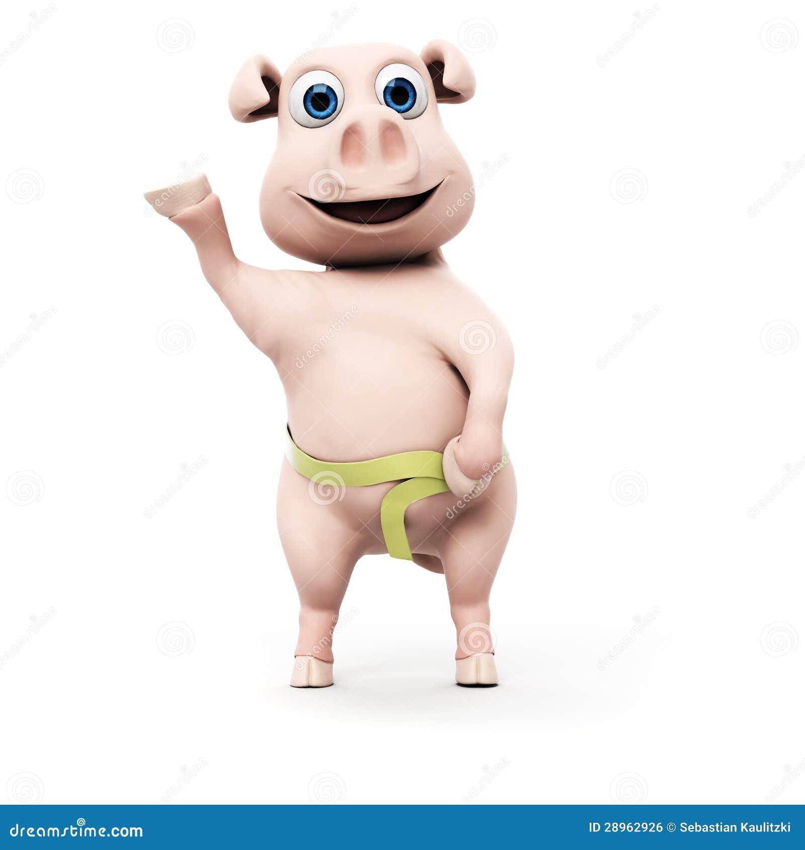 Śmieszny świniowaty charakter