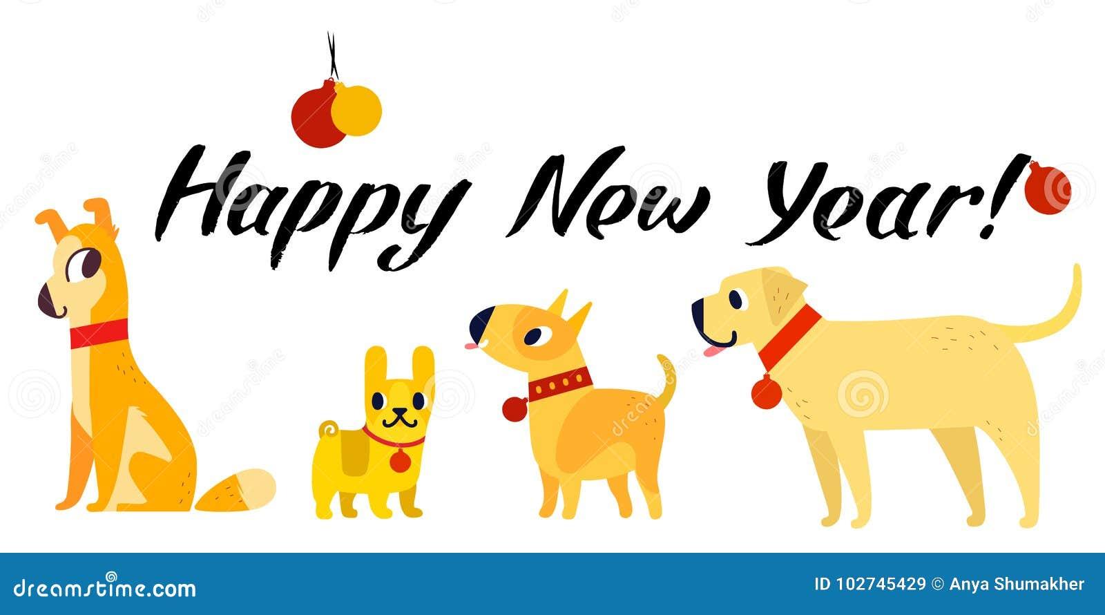 Śmieszny żółtych psów symbol rok 2018 Mieszkanie styl, ilustracja odizolowywająca na białym tle Szczęśliwy nowego roku literowani