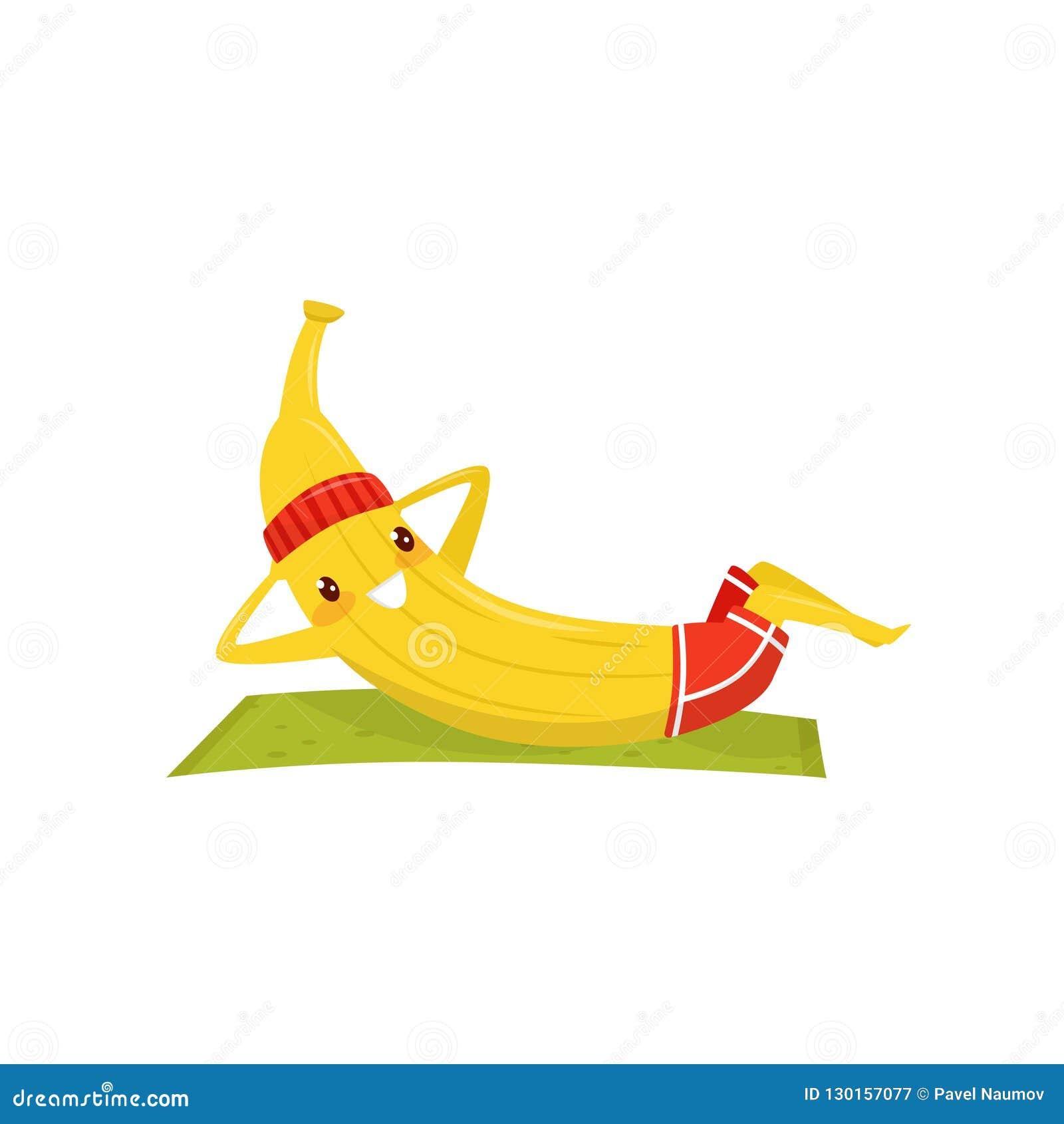 Śmieszny bananowy opracowywać na ćwiczenie macie, sportive owocowa postać z kreskówki robi sprawności fizycznej ćwiczenia wektoru