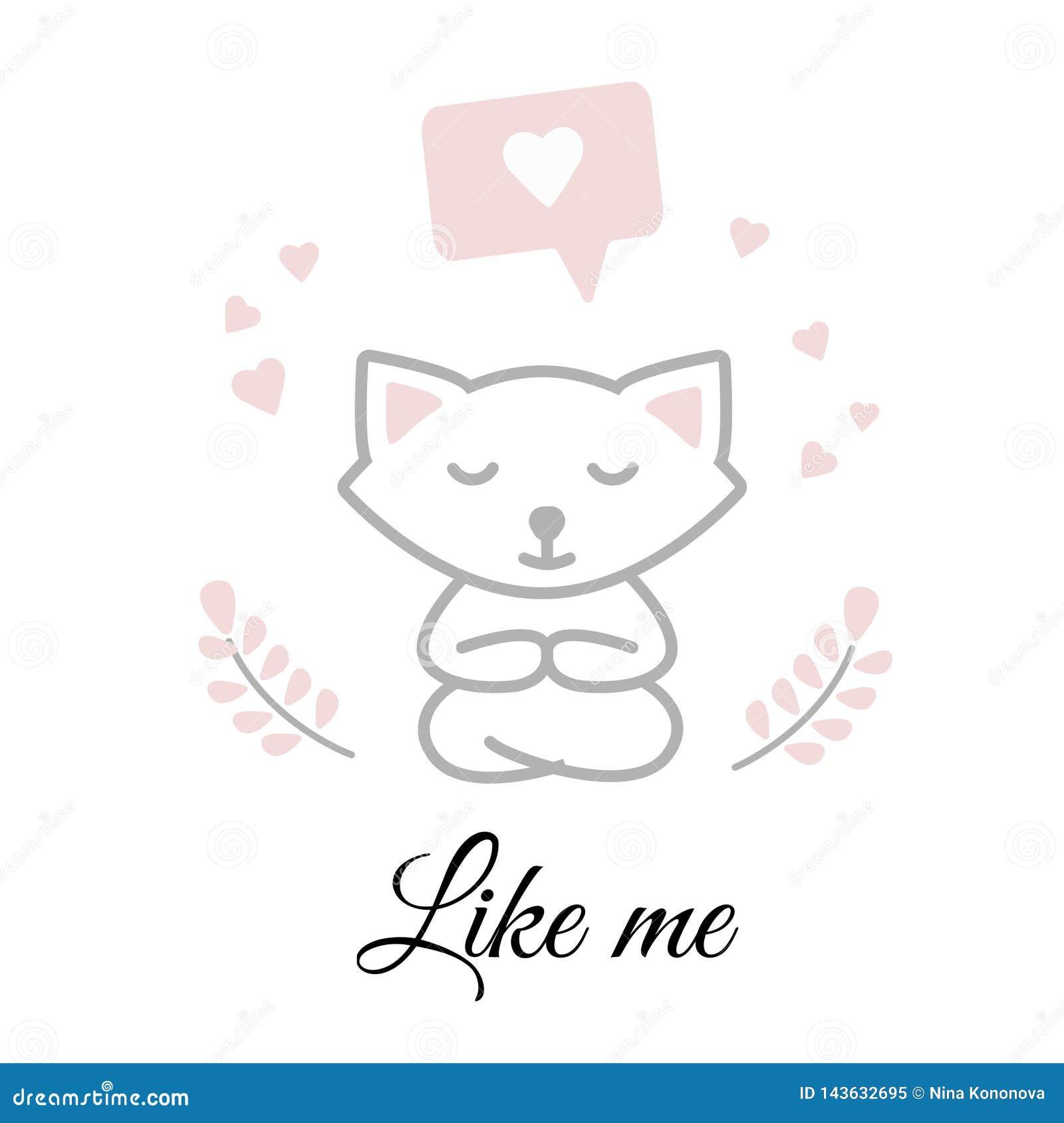 Śmieszny biały kota obsiadanie w joga medytować i pozie karciany dzień powitania s valentine Odpoczynek, wakacje, miłość, nastrój