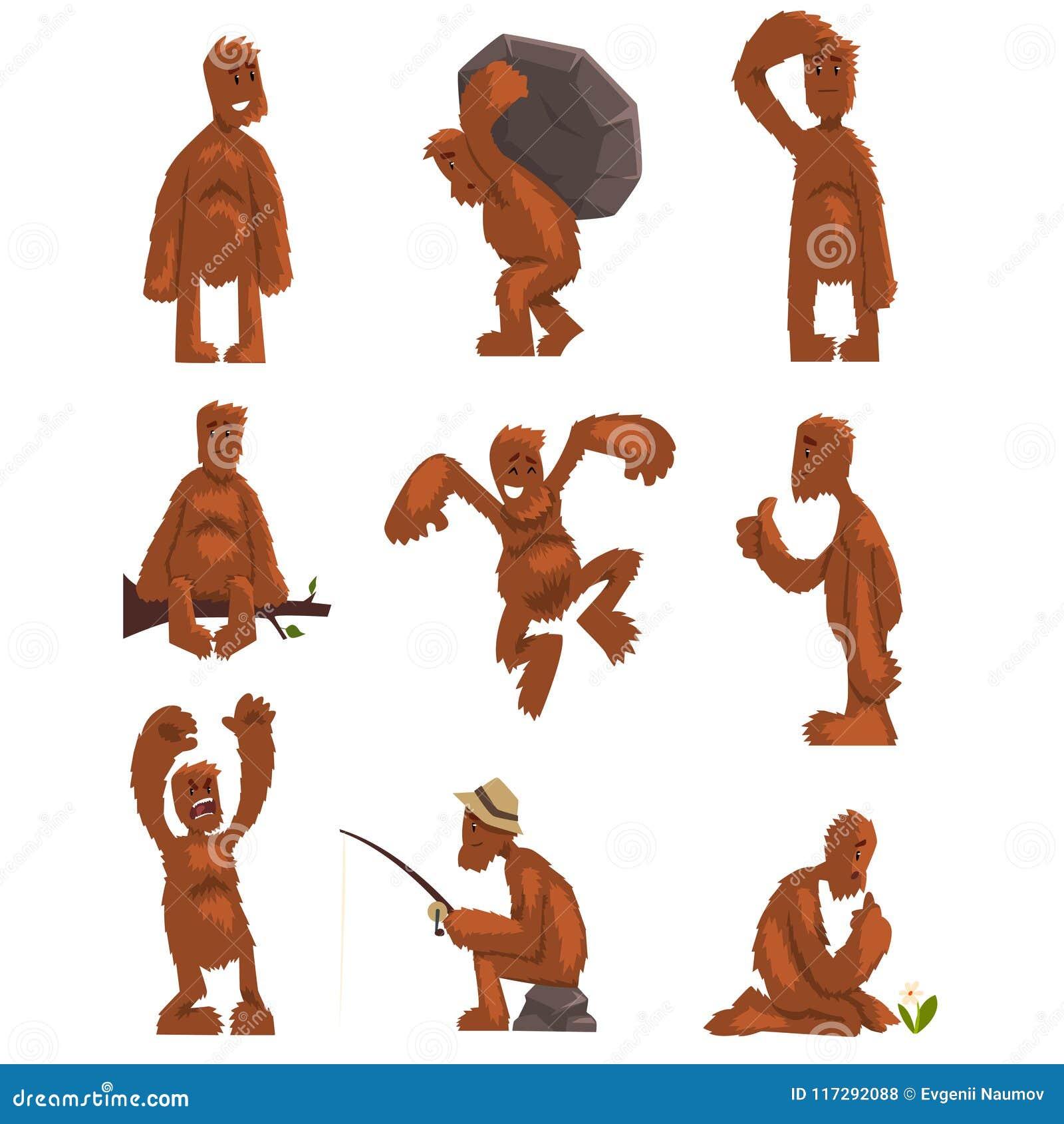 Śmieszny Bigfoot postać z kreskówki - set, mityczna istota w różnych sytuacj wektorowych ilustracjach na bielu