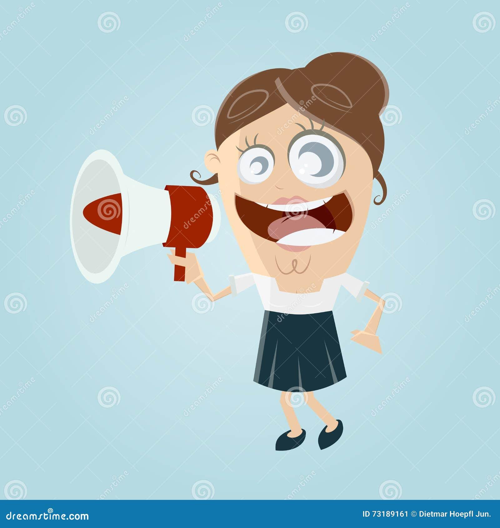 Śmieszny bizneswoman z megafonem