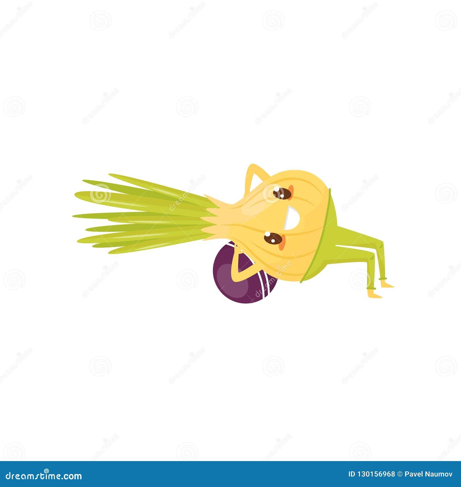 Śmieszny cebulkowy ćwiczyć z piłką, sportive jarzynowa postać z kreskówki robi sprawności fizycznej ćwiczenia wektorowej ilustrac