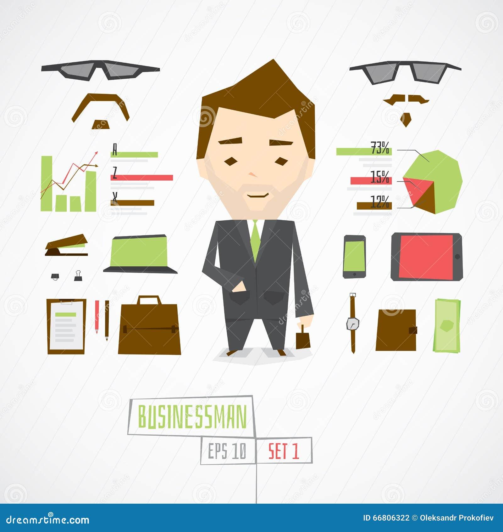 Śmieszny charakteru biznesmen