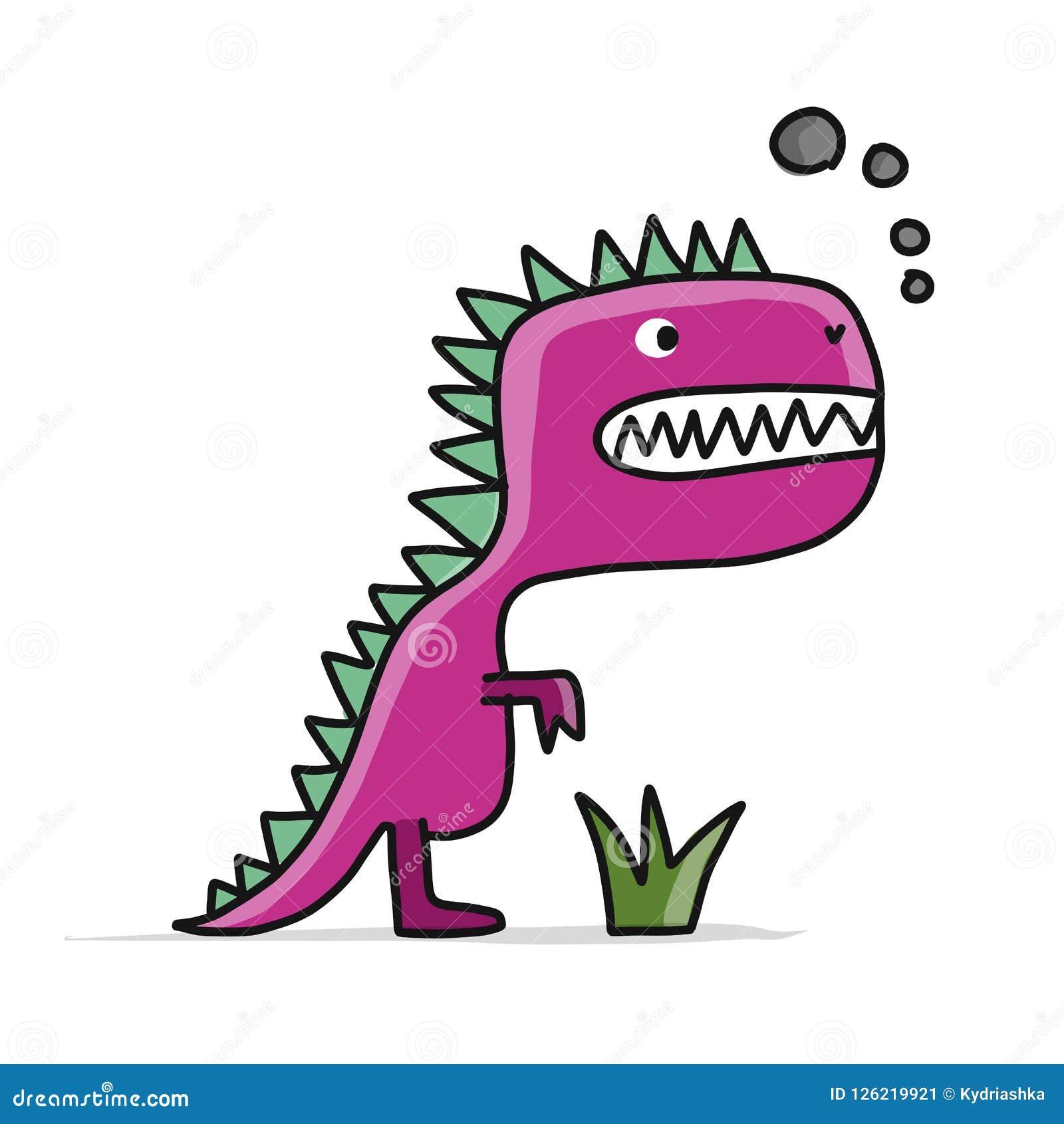 Śmieszny dinosaur, dziecięcy styl Nakreślenie dla twój projekta