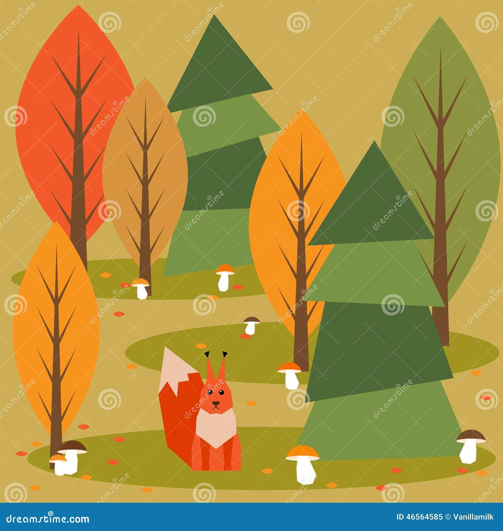 Śmieszny jaskrawy barwiony kreskówki jesieni las z zwierzętami