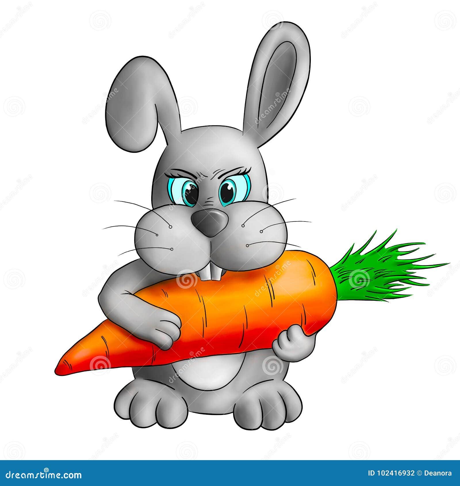 Śmieszny kreskówka królik z marchewką