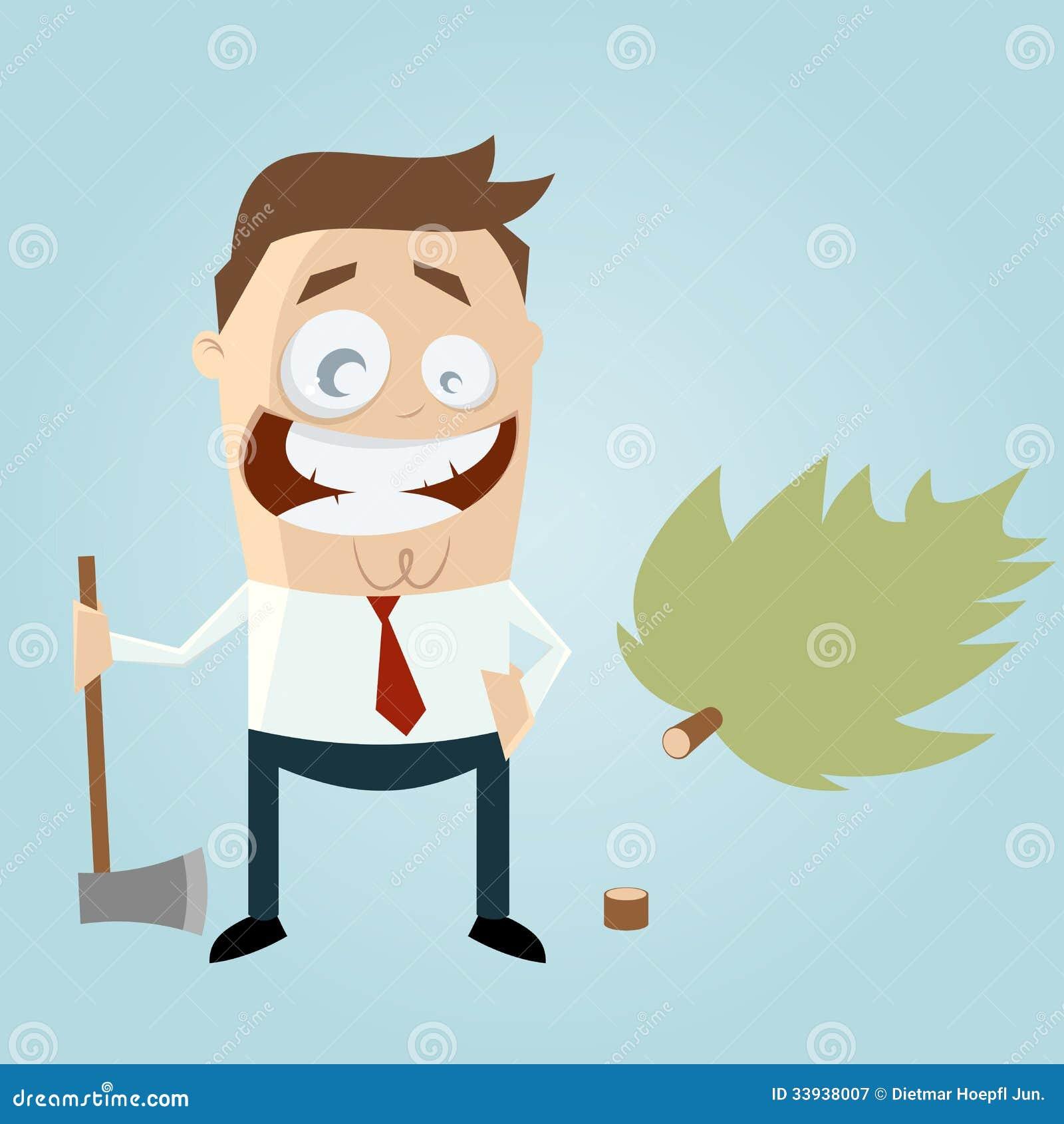 Śmieszny kreskówka mężczyzna z powalać drzewem