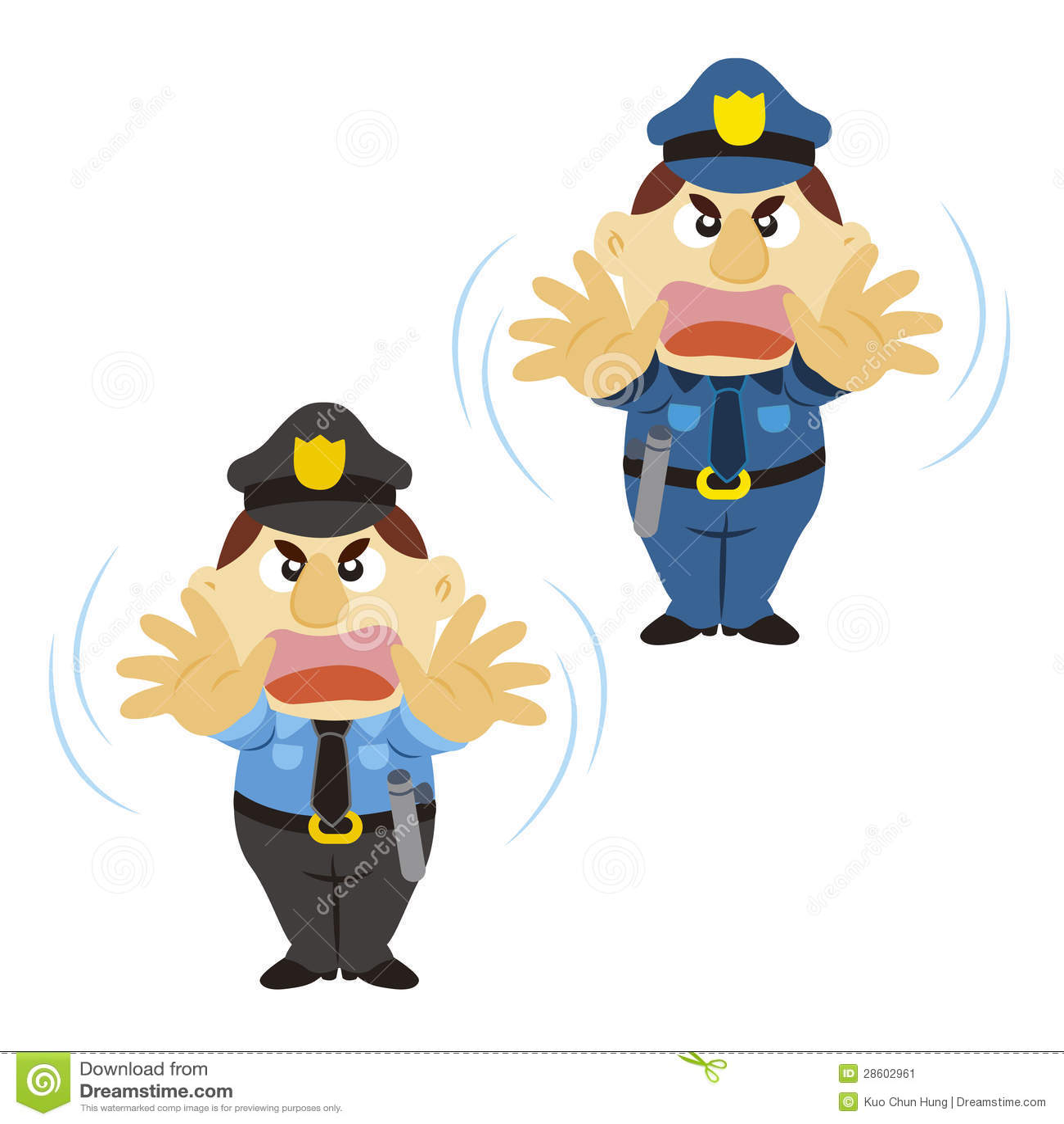 Śmieszny kreskówka policjant, dwa koloru